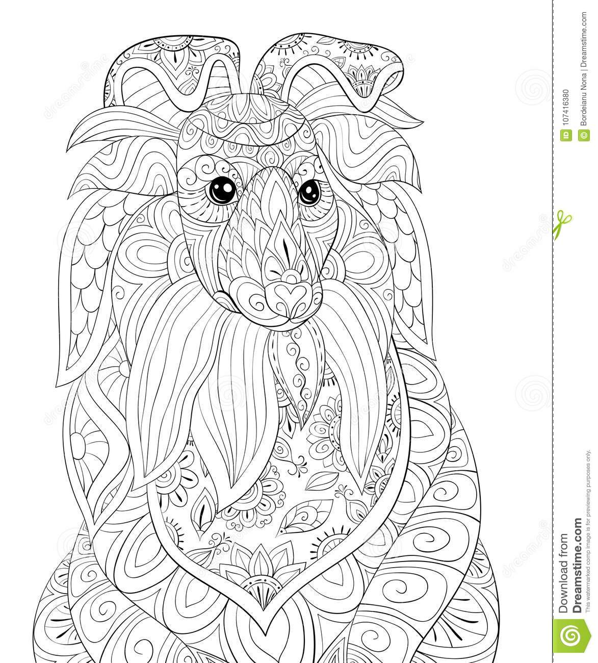 Adult coloring page a cute dog for relaxing zen art style Zen coloring book for adults download