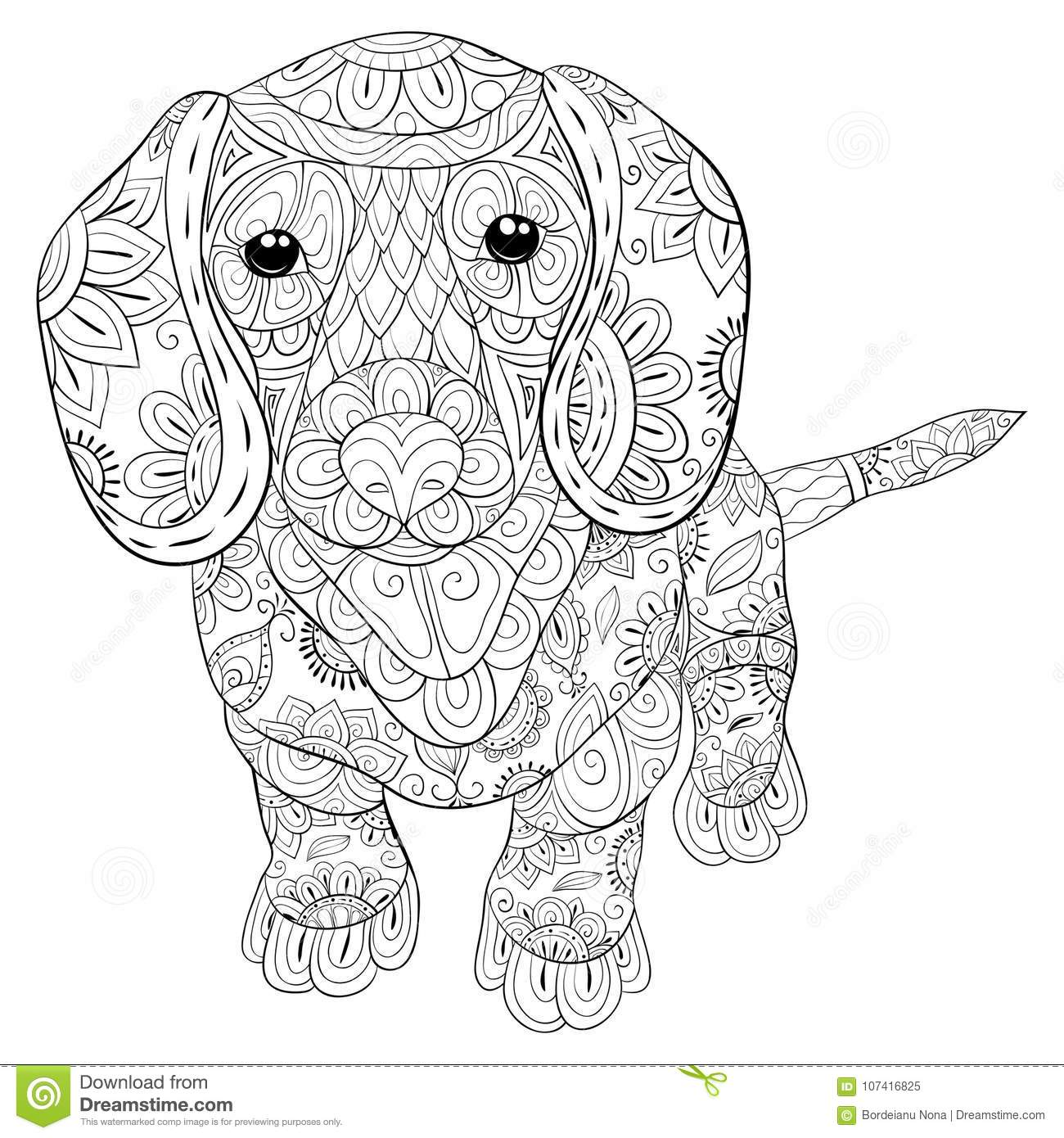 Adult Coloring Page A Cute Isolated Dog For Relaxing.Zen ...