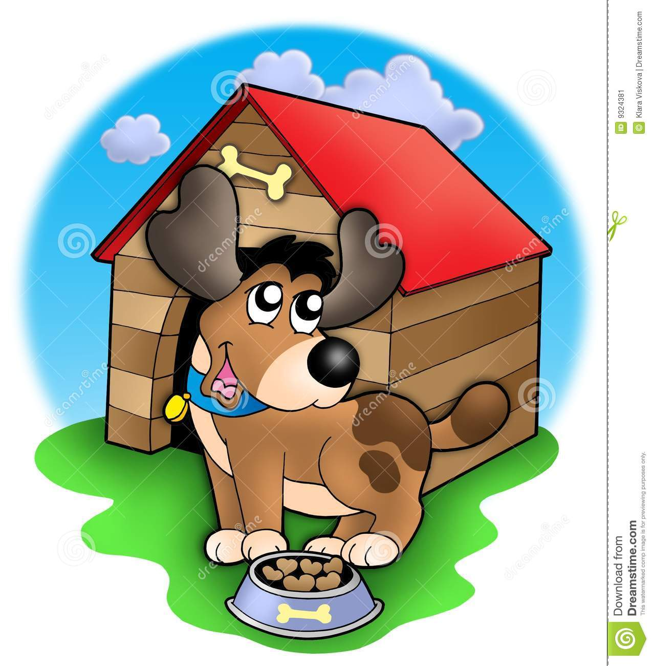 Cute Dog In Front Of Kennel Stock Image Image 9324381