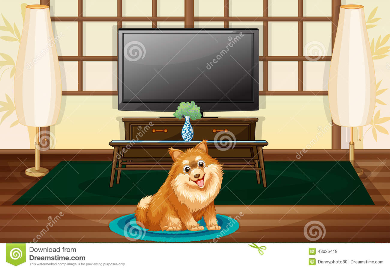 A Cute Dog Inside The House Stock Vector Image 48025418