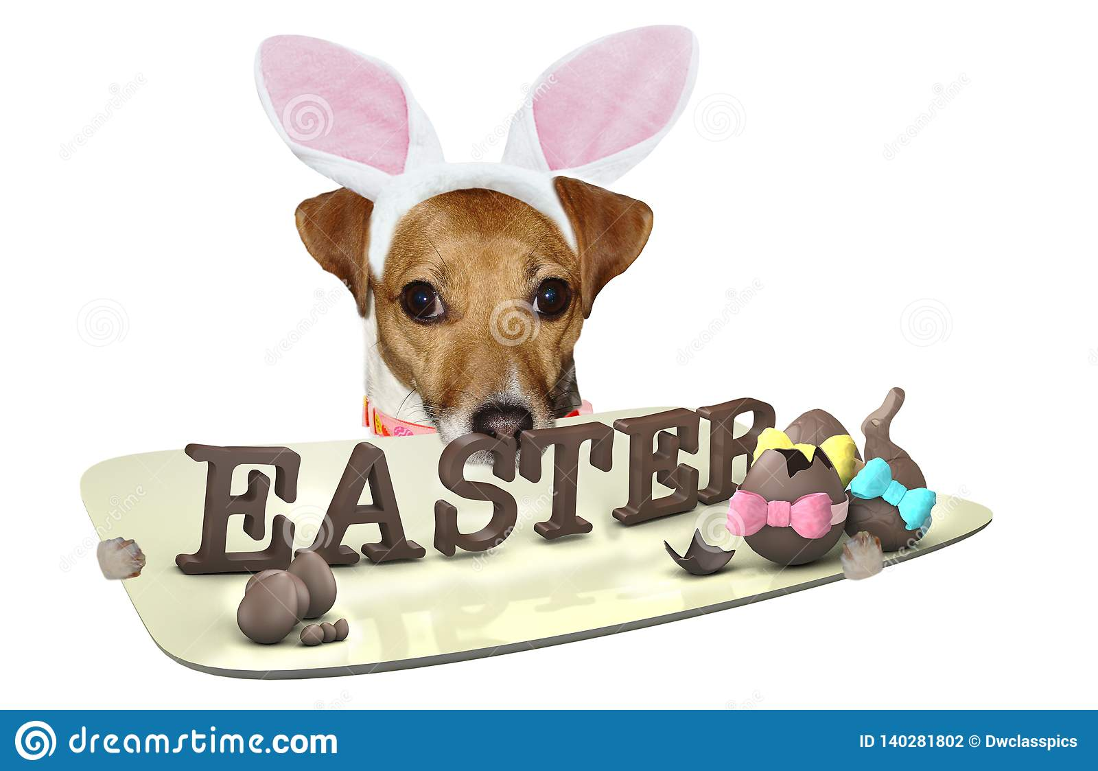 Cute dog jack russel have a plate with easter letters between legs