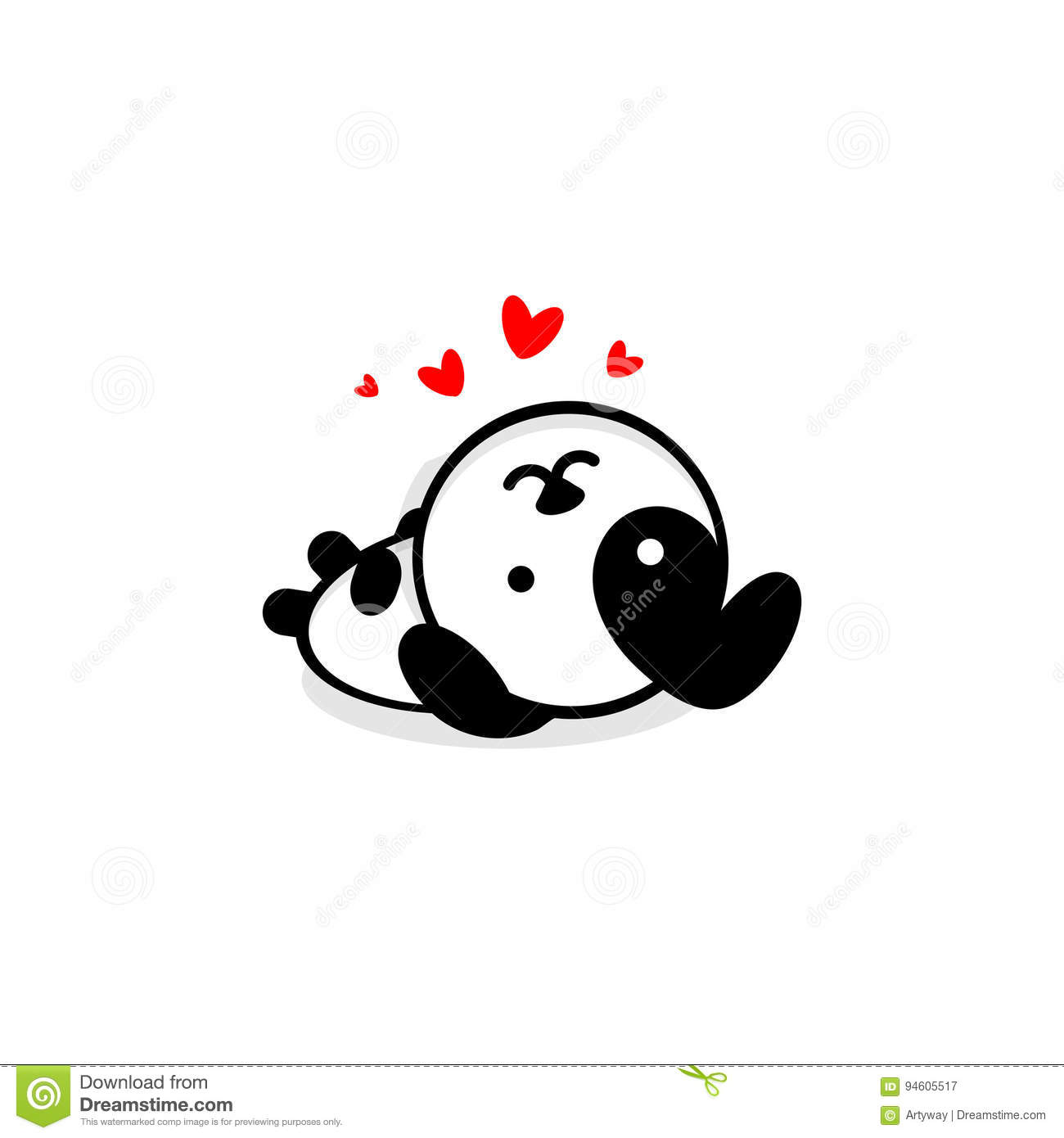 Cute Dog In Love And Rest Vector Illustration Baby Puppy Logo New Design Art Pet Black Color Sign Simple Image Stock Vector Illustration Of Cartoon Happy 94605517