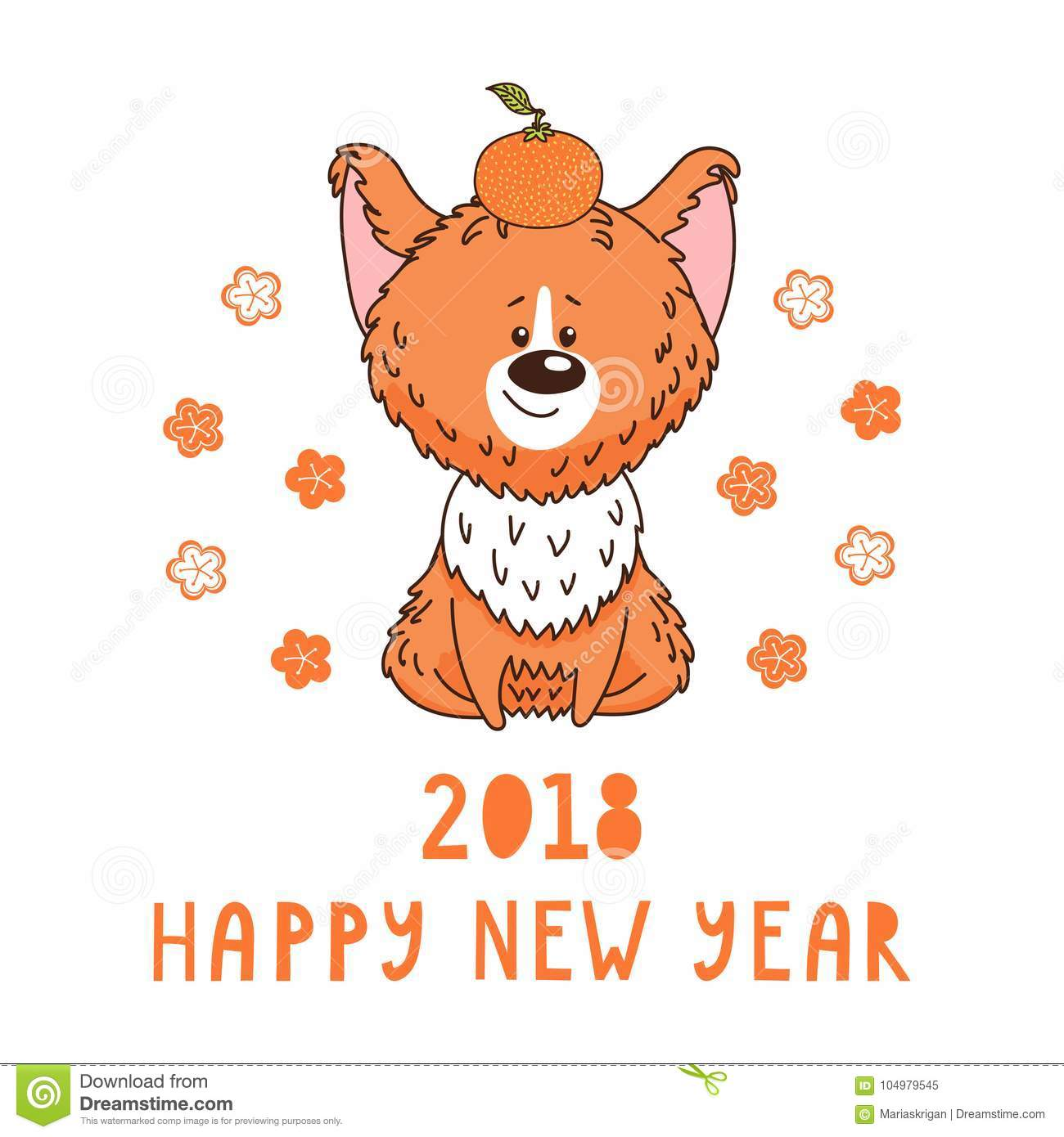 Cute Dog New Year Greeting Card Stock Vector - Illustration of face ...
