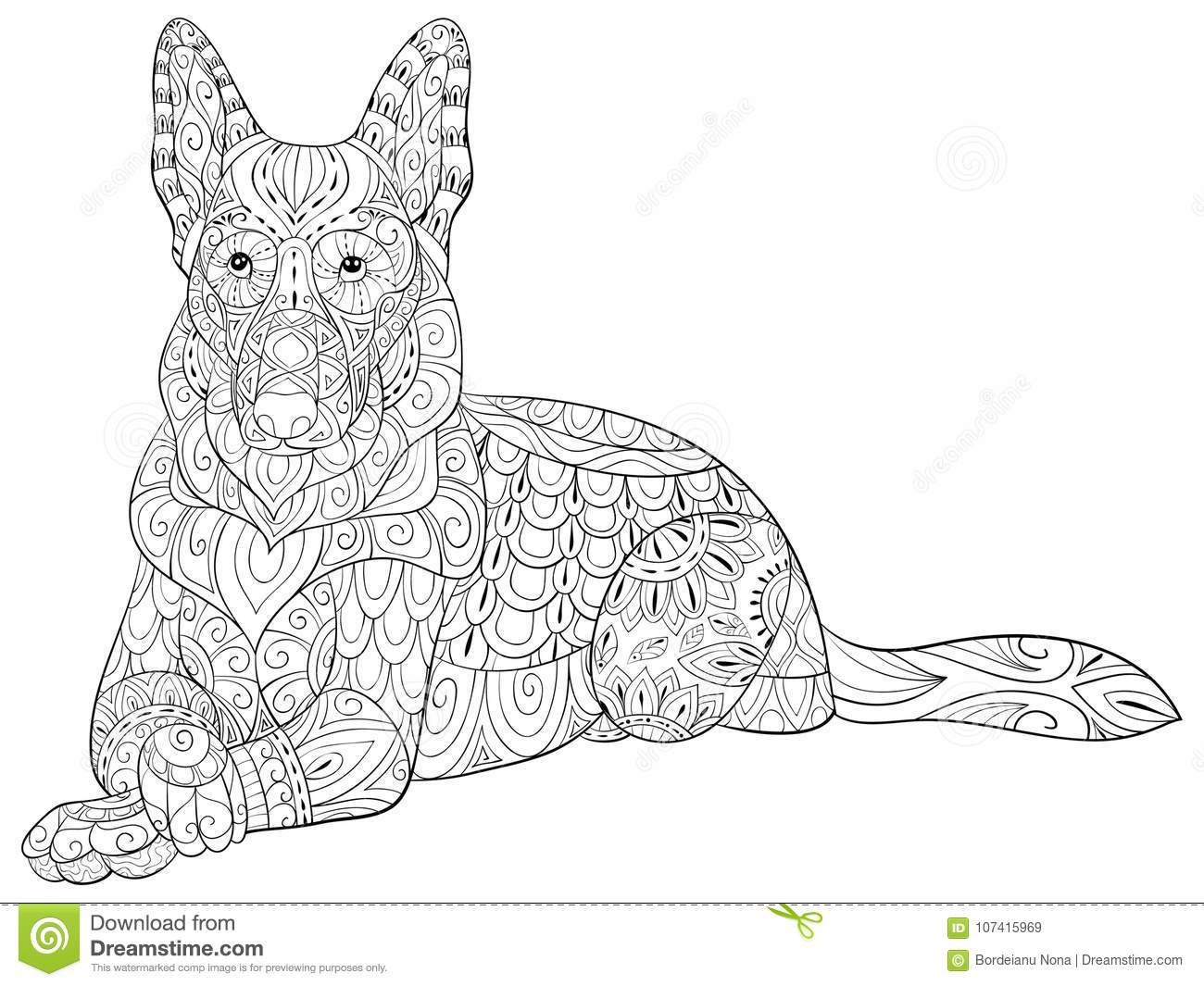 Adult Coloring Page A Cute Isolated Dogal For RelaxingZen Art Style Illustration