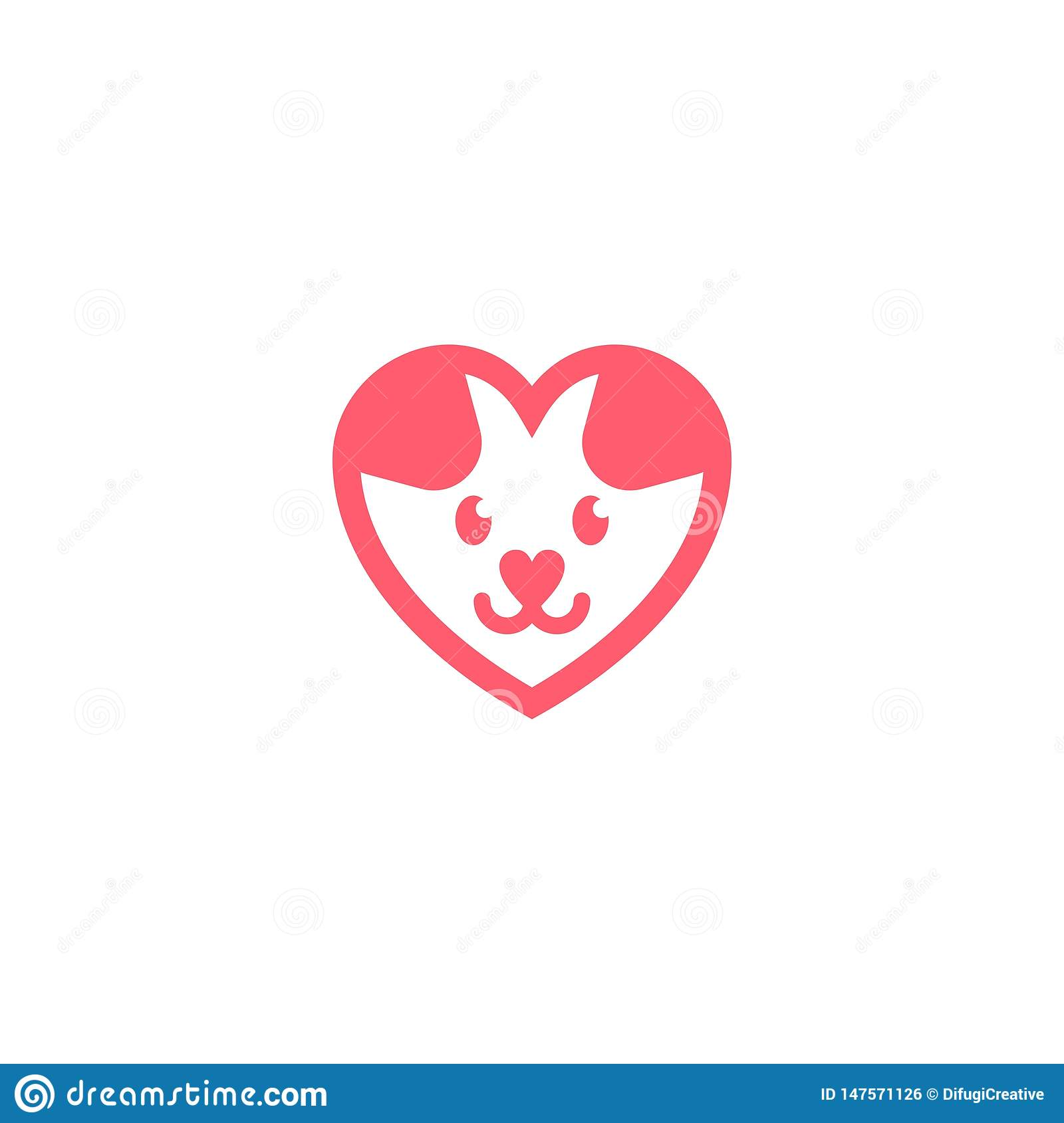 Cute dog puppy love logo