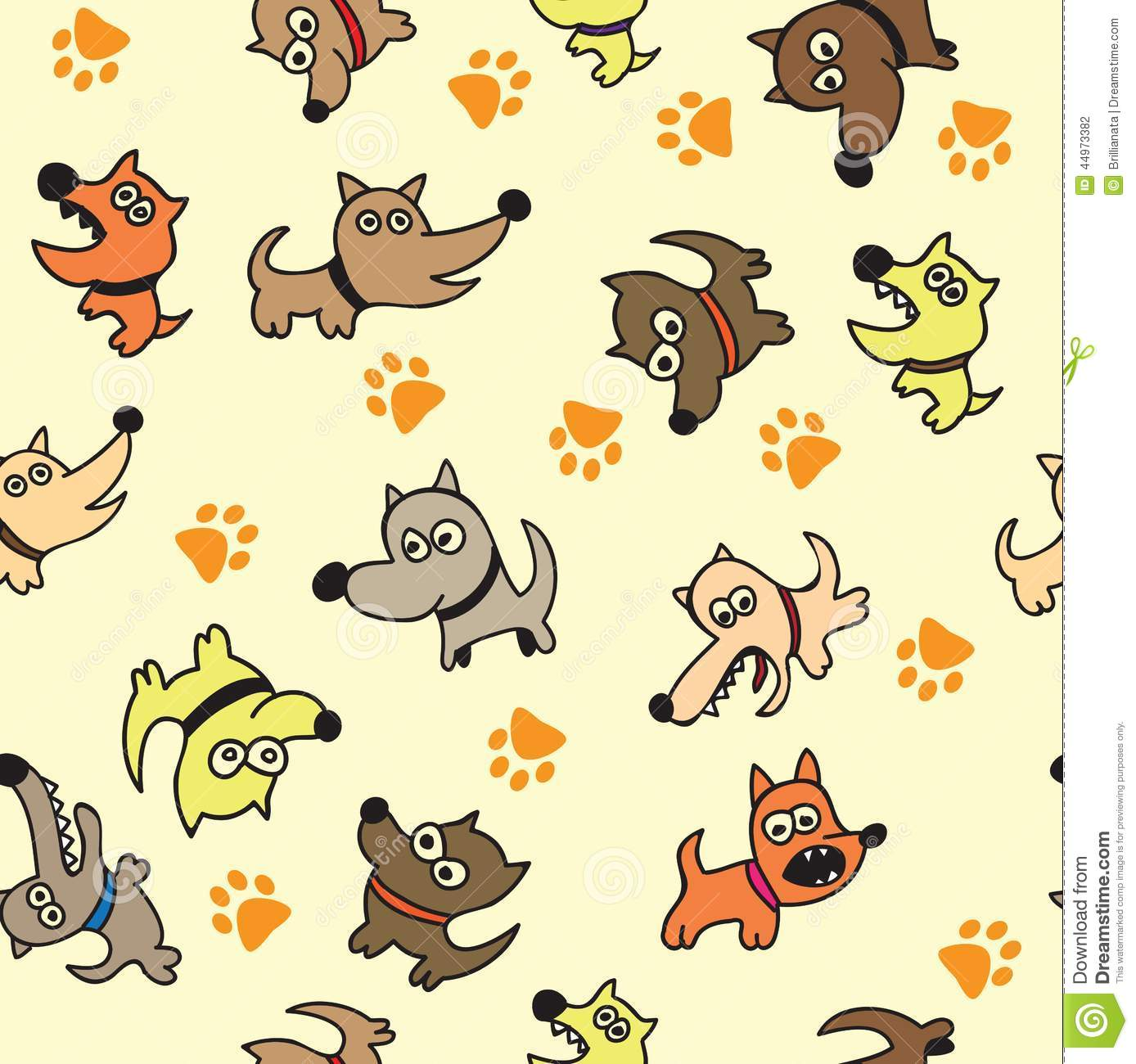 Cute Dog Seamless Background Stock Vector Image 44973382