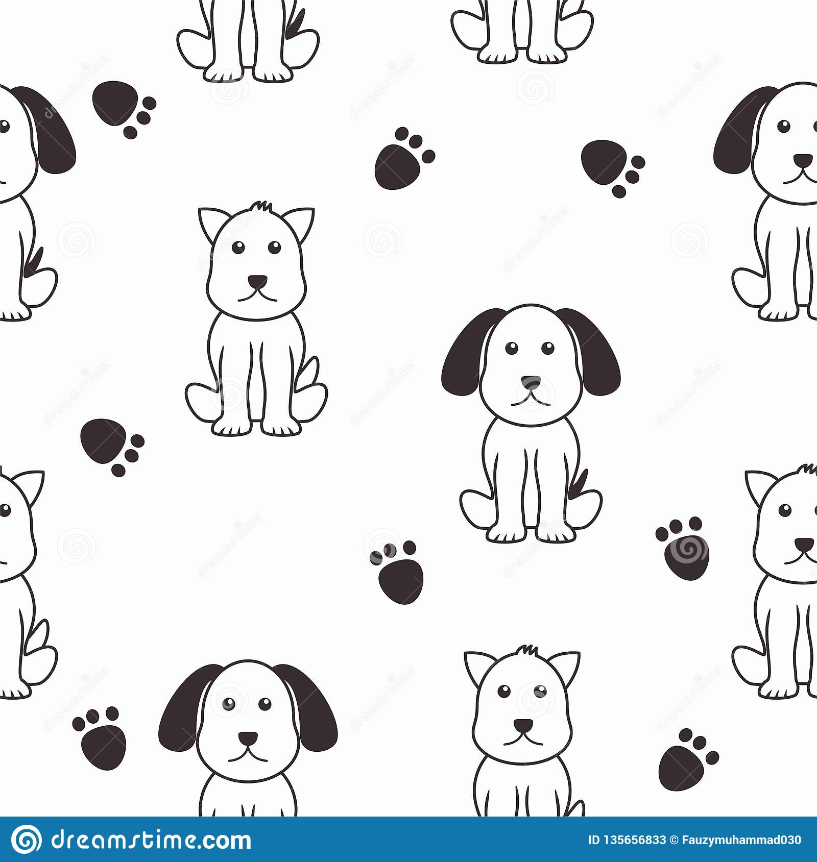Cute Dog Seamless Pattern With Black And White Color Stock Vector Illustration Of Funny Green 135656833