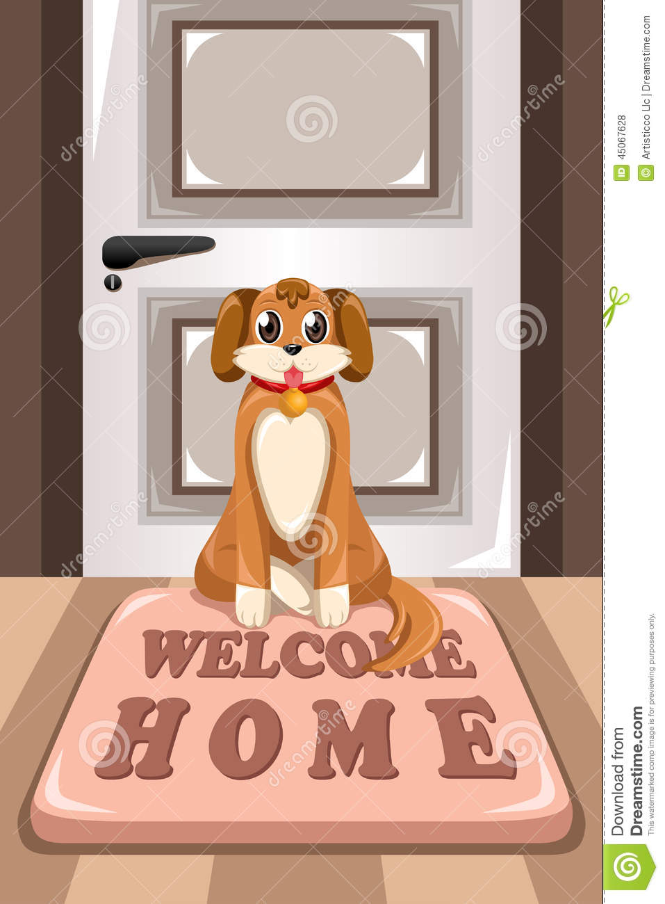 Cute Dog Sitting On A Mat Stock Vector Image 45067628