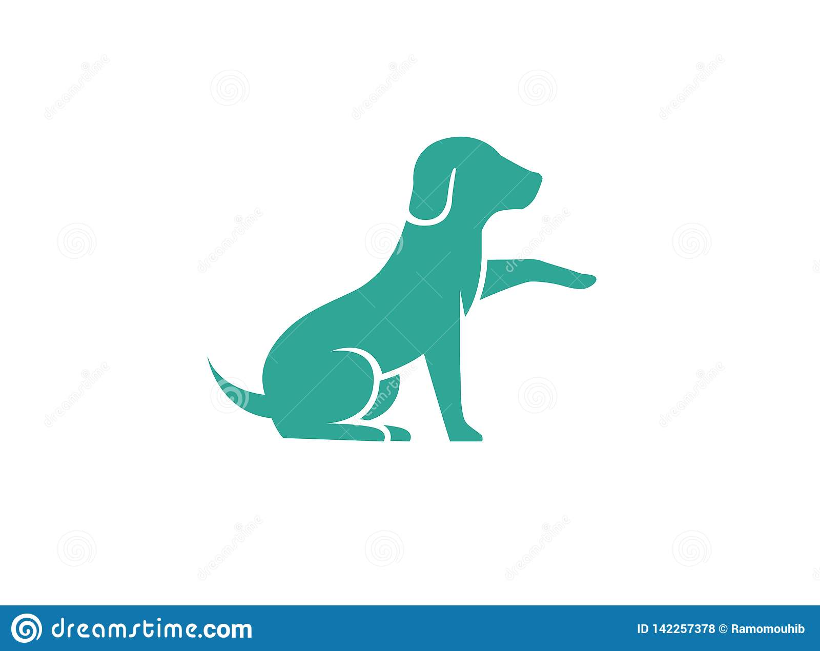 Cute dog sitting and Shaking hand logo