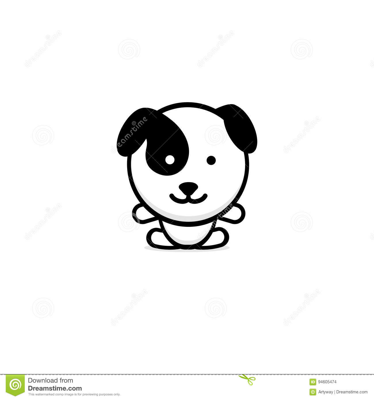 Cute Dog Vector Illustration Baby Puppy Logo New Design Art Pet Black Color Sign Simple Image Picture With Animal Stock Vector Illustration Of Drawing Little 94605474