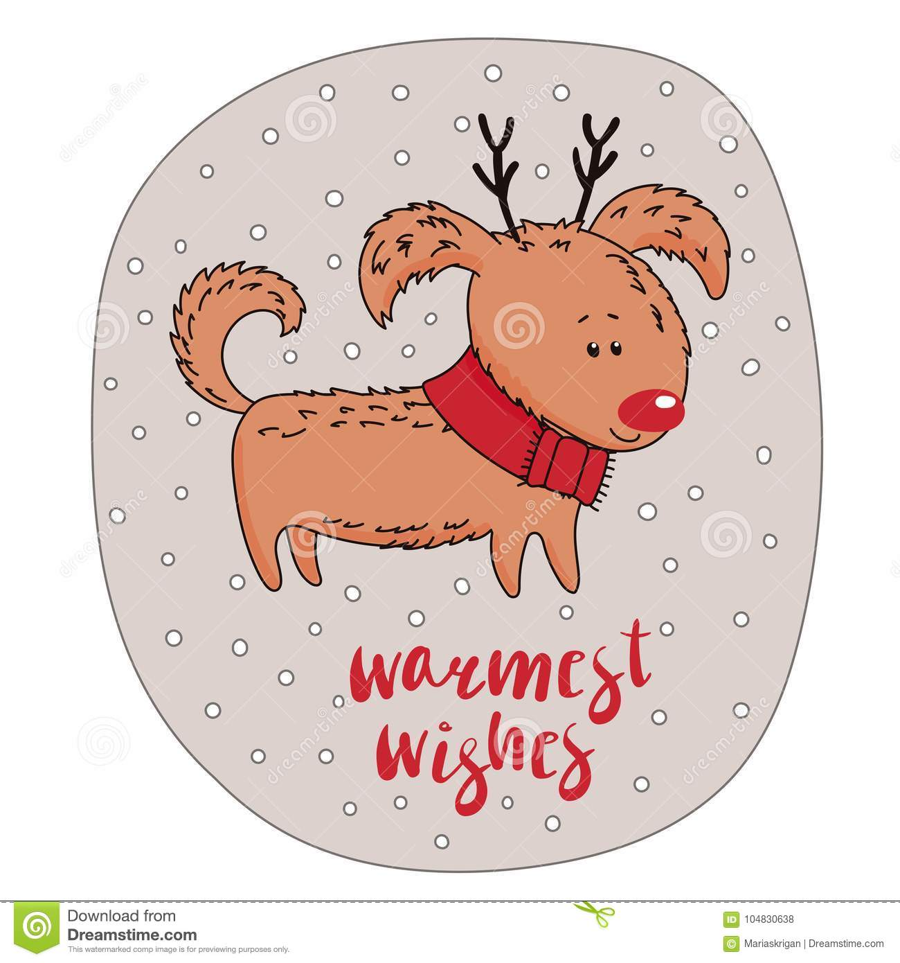 Cute Dog Winter Holidays Greeting Card Stock Vector Illustration