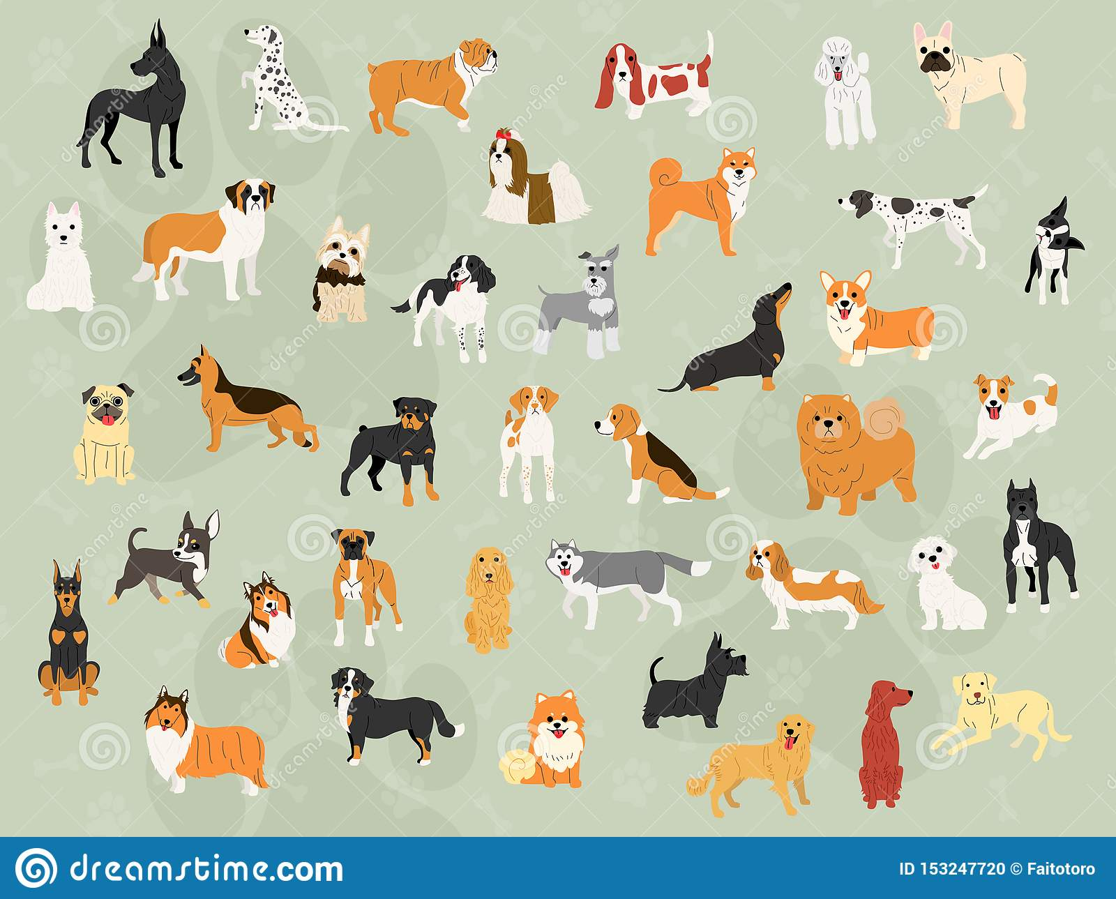 Cute Dogs In Action Wallpaper Design Stock Vector Illustration Of Exercise Bulldog 153247720