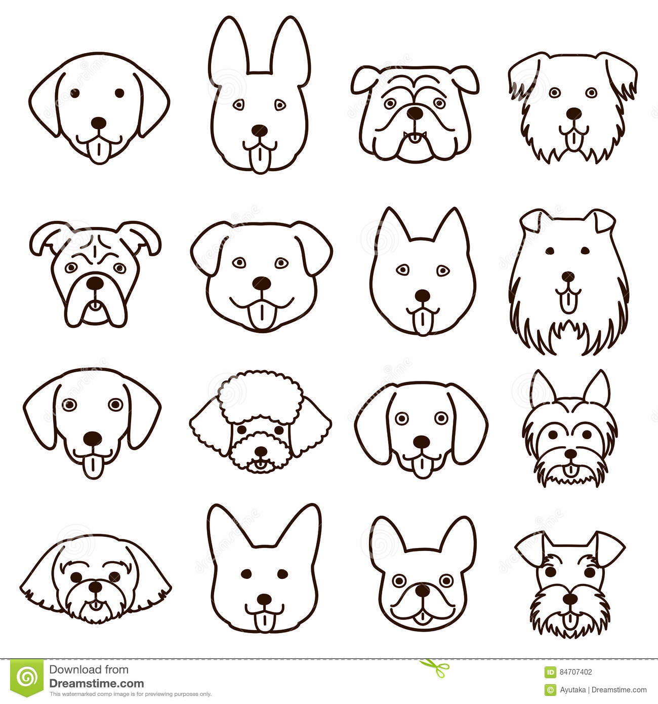 Line Drawing Animal Face : Cute dogs faces line art set stock vector image