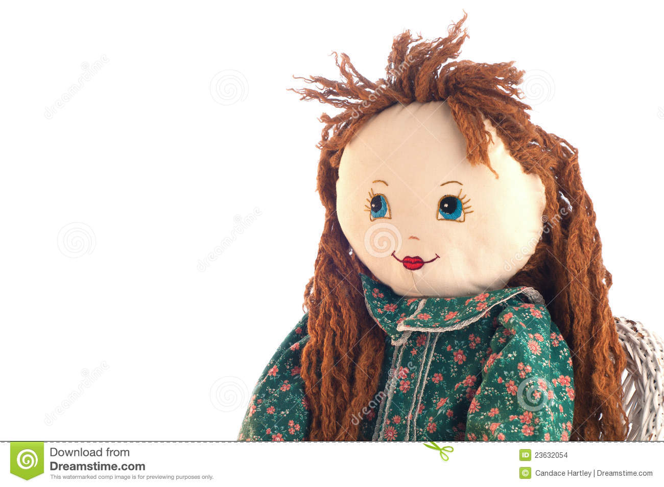 Cute Doll Looking into White Copy Space