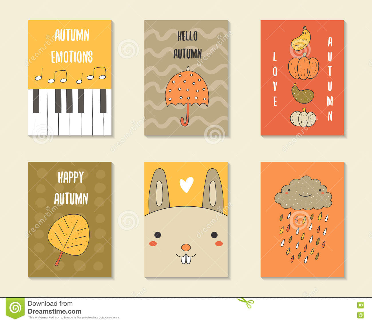 Children Note Book Cover : Autumn doodle cover for kids notebook cute frame with