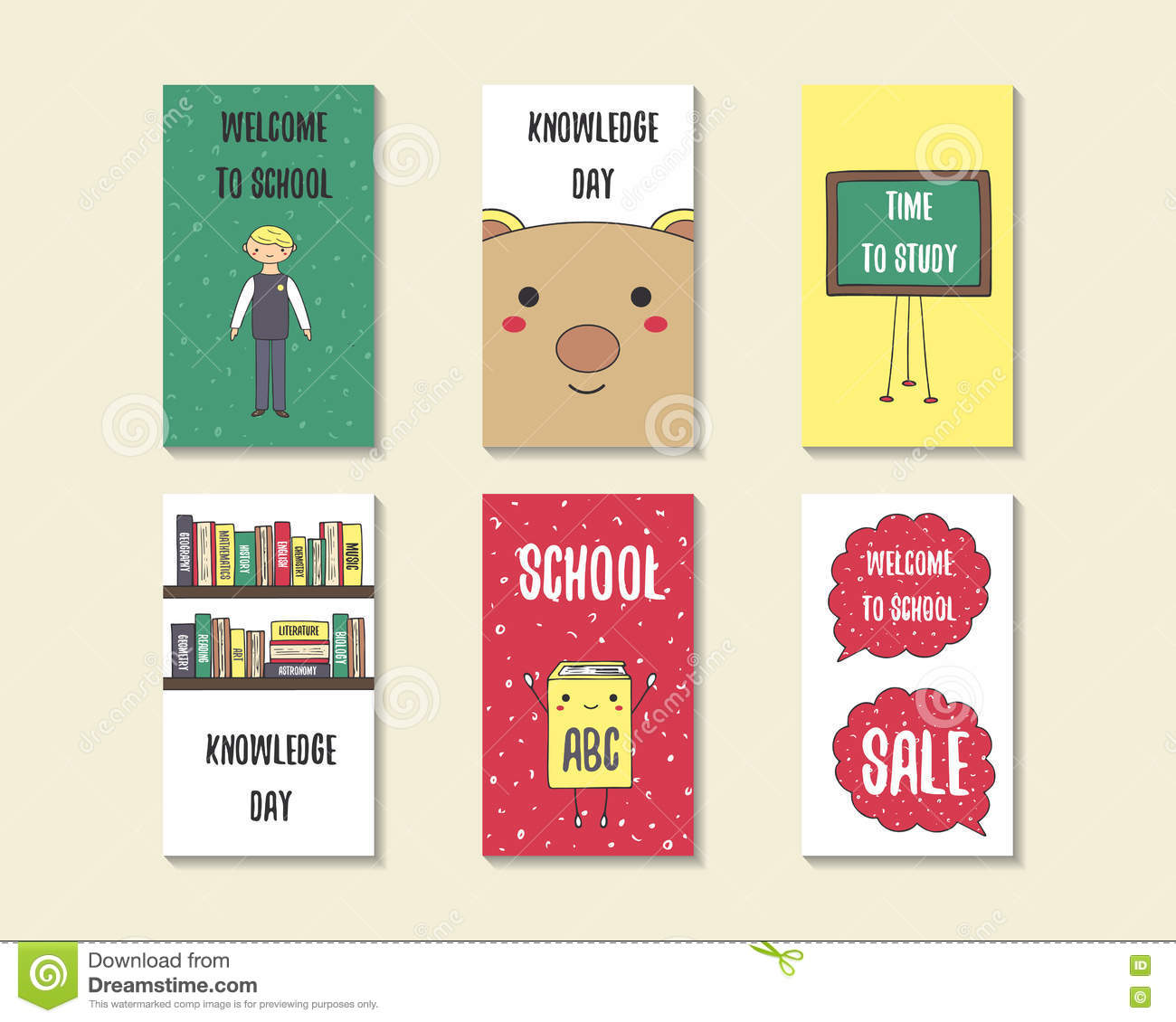 Surprising Cute Doodle Back To School Cards Stock Vector Illustration Of Funny Birthday Cards Online Fluifree Goldxyz