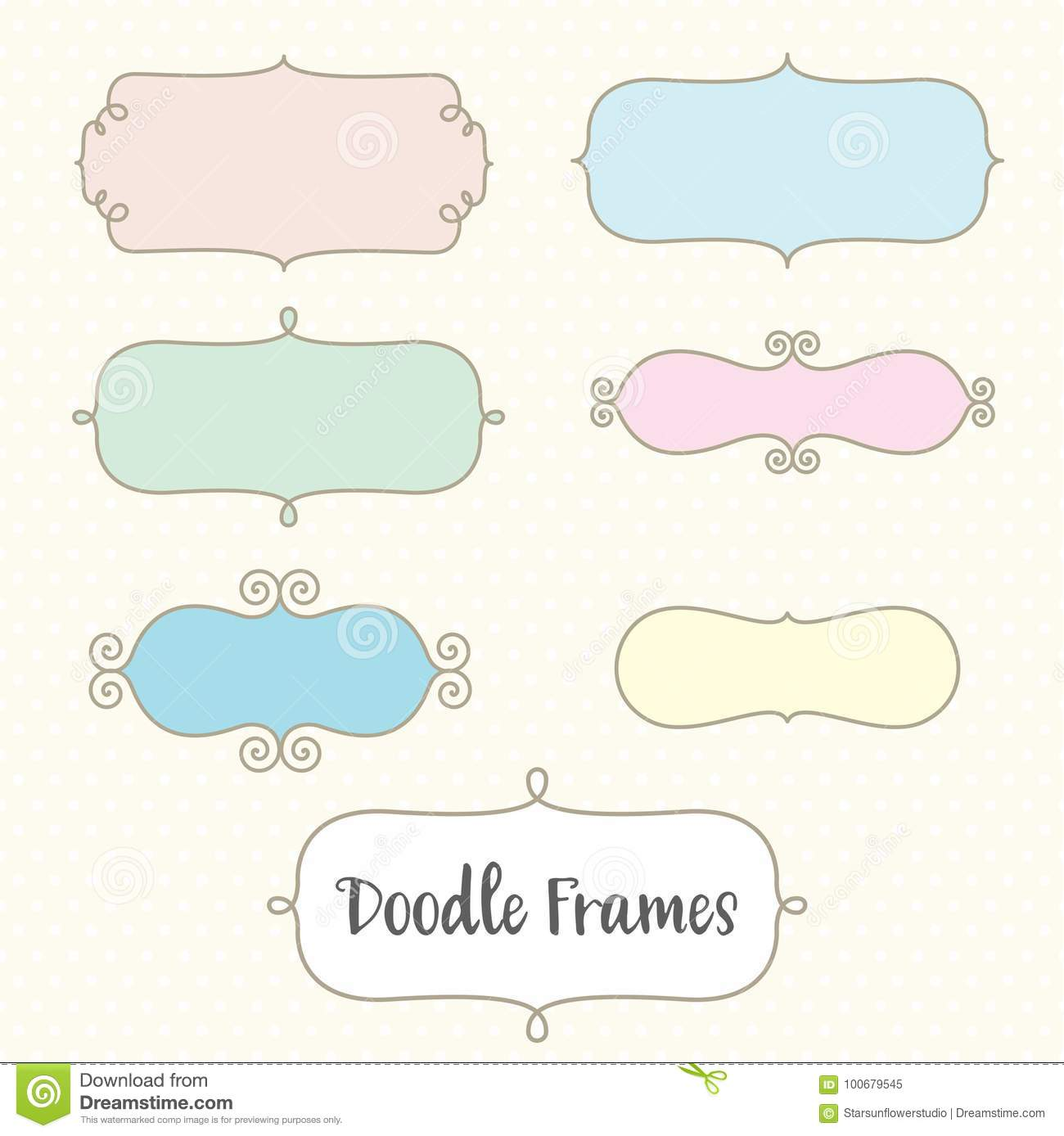 Cute Doodle Frame Borders Set Stock Vector - Illustration of borders ...