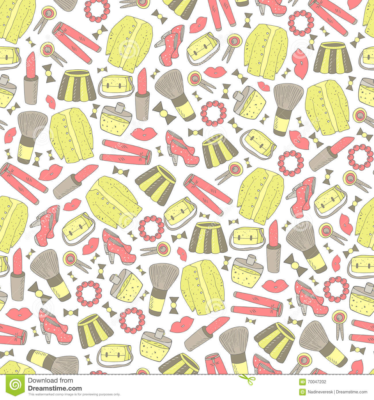 Cute Doodle Girl Fashion Seamless Pattern. Vector