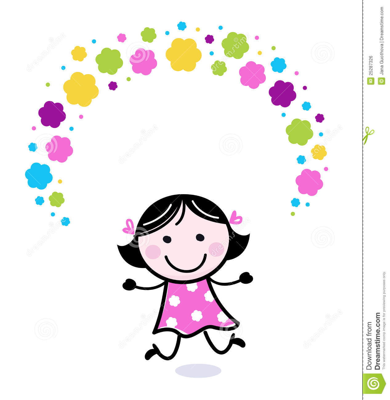 Cute Doodle Girl Juggling With Flowers Stock Vector