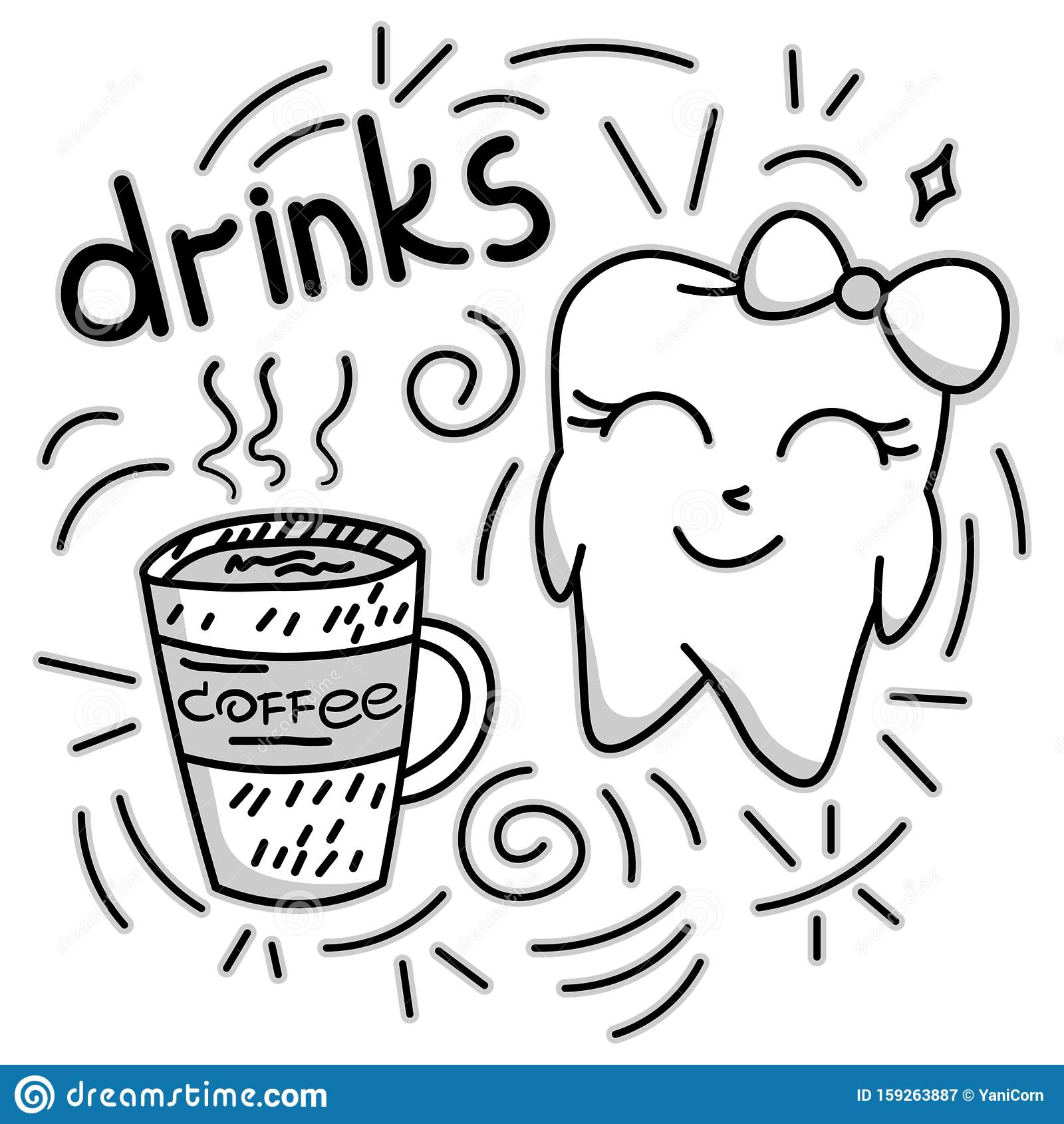 Cute Doodle Happy Tooth With Coffee Drink Cartoon Drawing For Kids Dental Cabinet Or Books Illustration Dental Care And Teeth Stock Vector Illustration Of Sketch Drawing 159263887