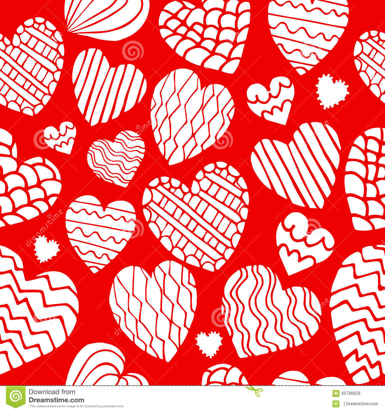 Cute Doodle Heart Seamless Pattern. Stock Vector - Illustration of ...