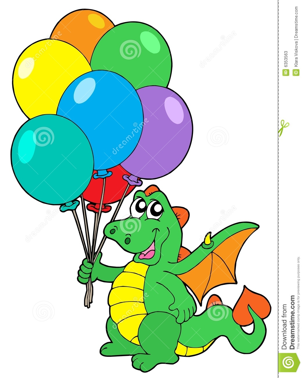 Cute Dragon With Balloons Stock Photos - Image: 6353563