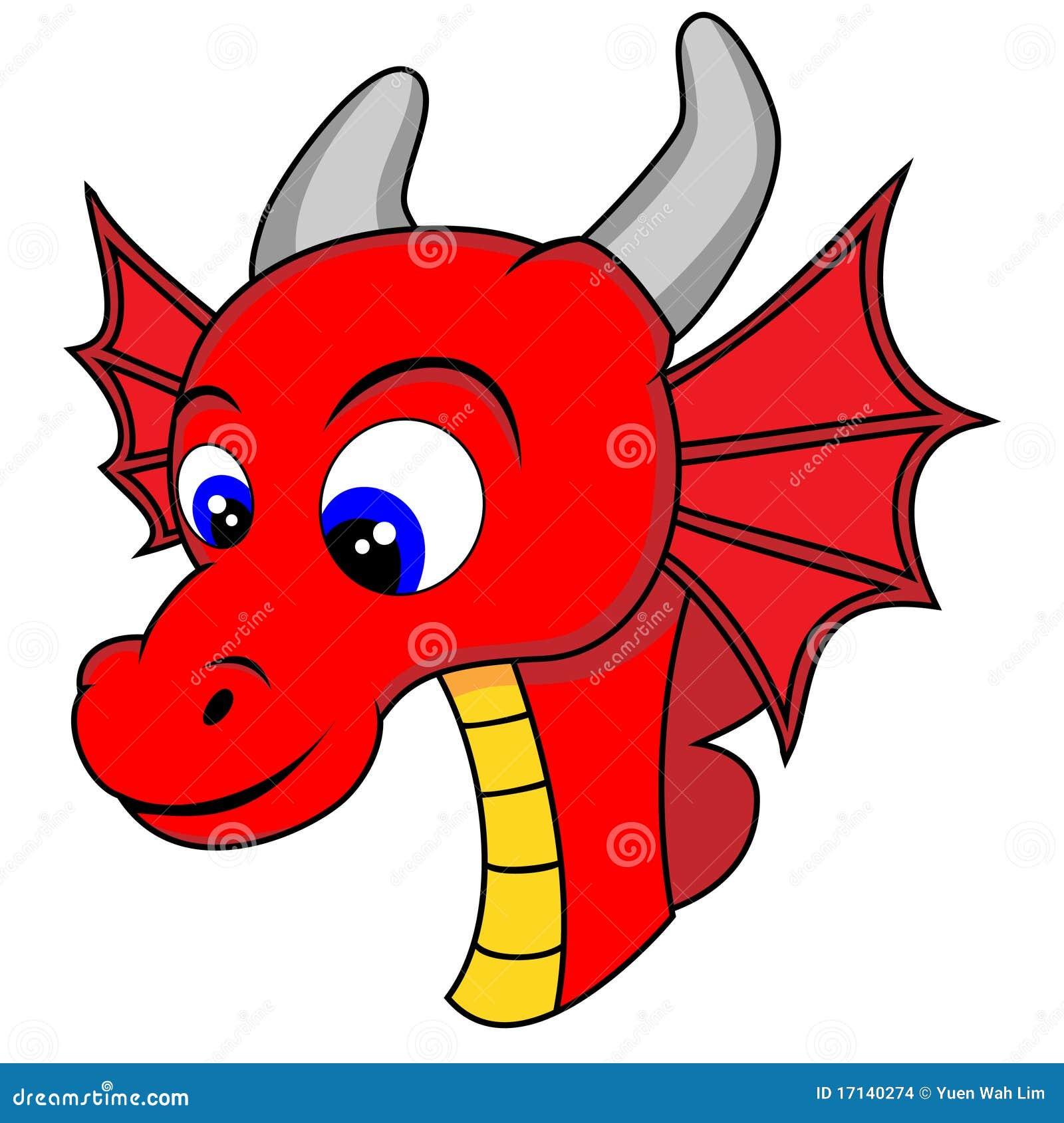 Cute Dragon Head Stock Vector. Illustration Of Flying