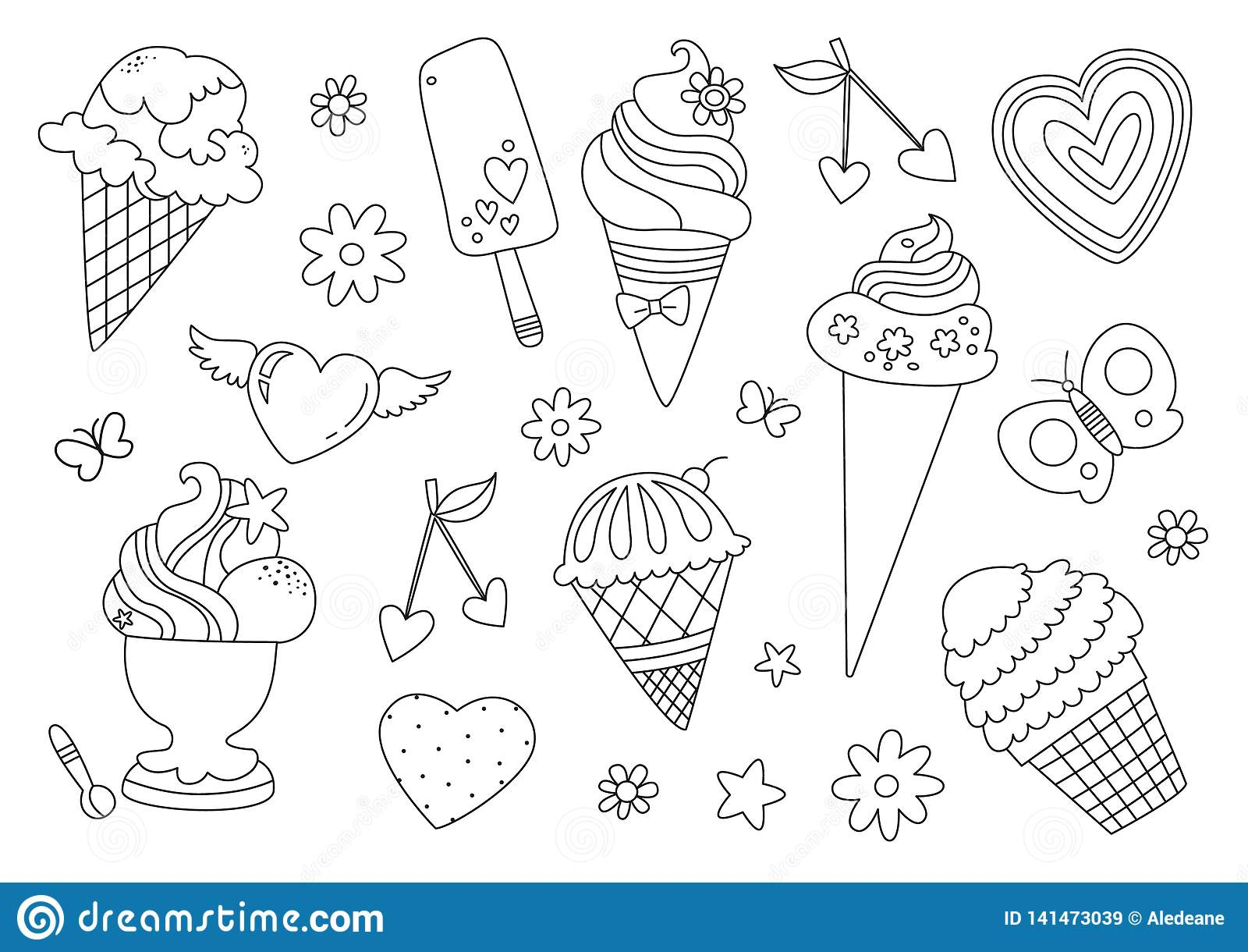 Coloring Page With Ice Creams Stock Illustration   Illustration of ...