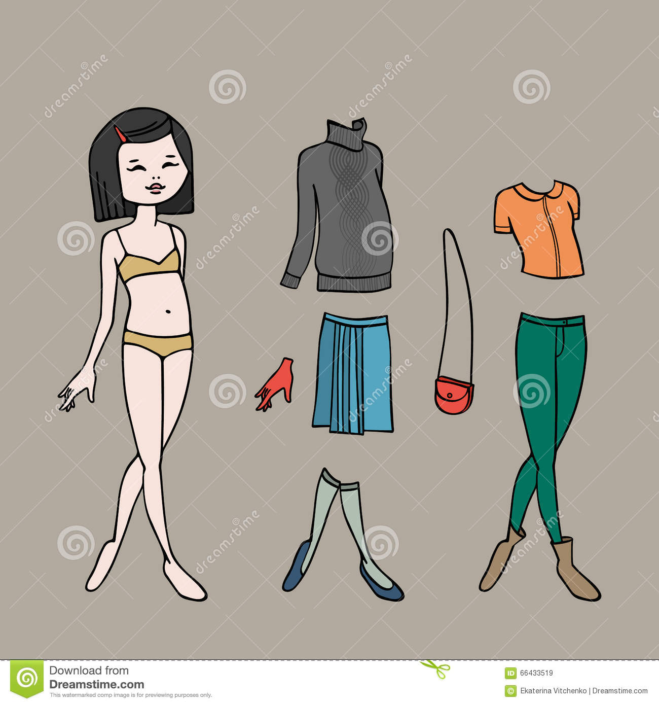 cute dress up paper doll body template clothing and accessories