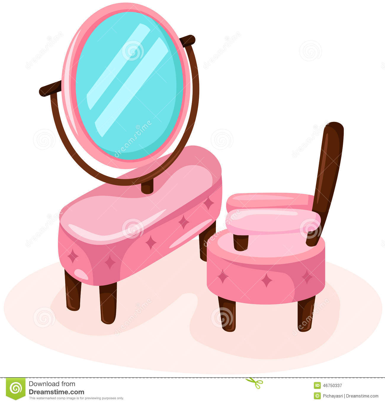 Cute Dressing Table With Chair Stock Vector Image 46750337