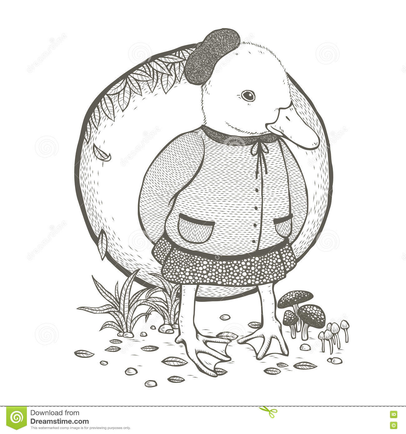 Cute duck coloring page stock vector. Illustration of exquisite ...
