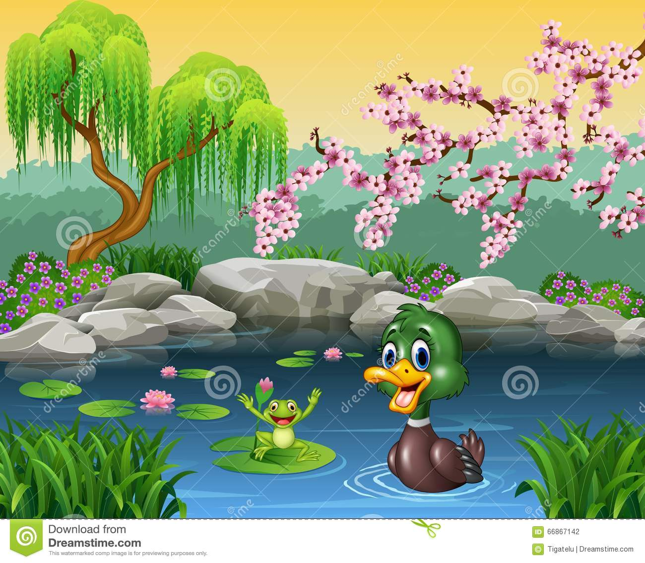 Cute Duck Swimming With Frog Stock Vector - Illustration ...