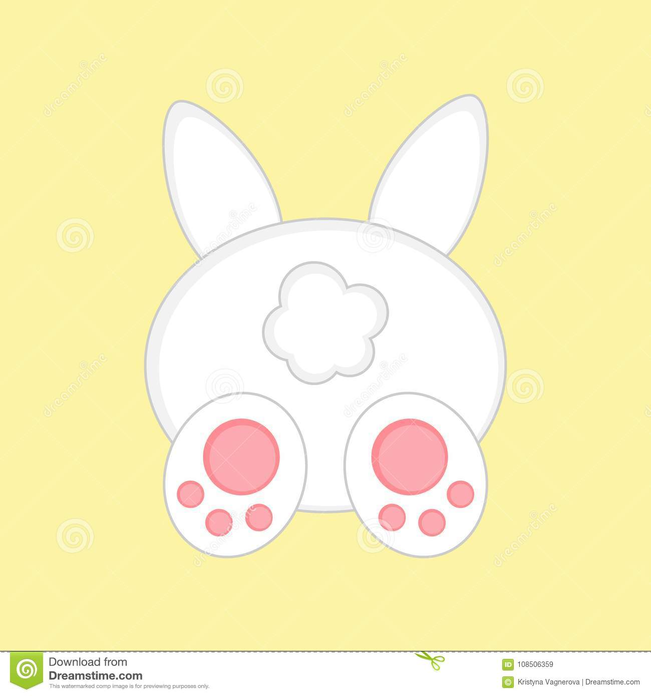 Cute Easter Bunny From Back View Stock Vector ...