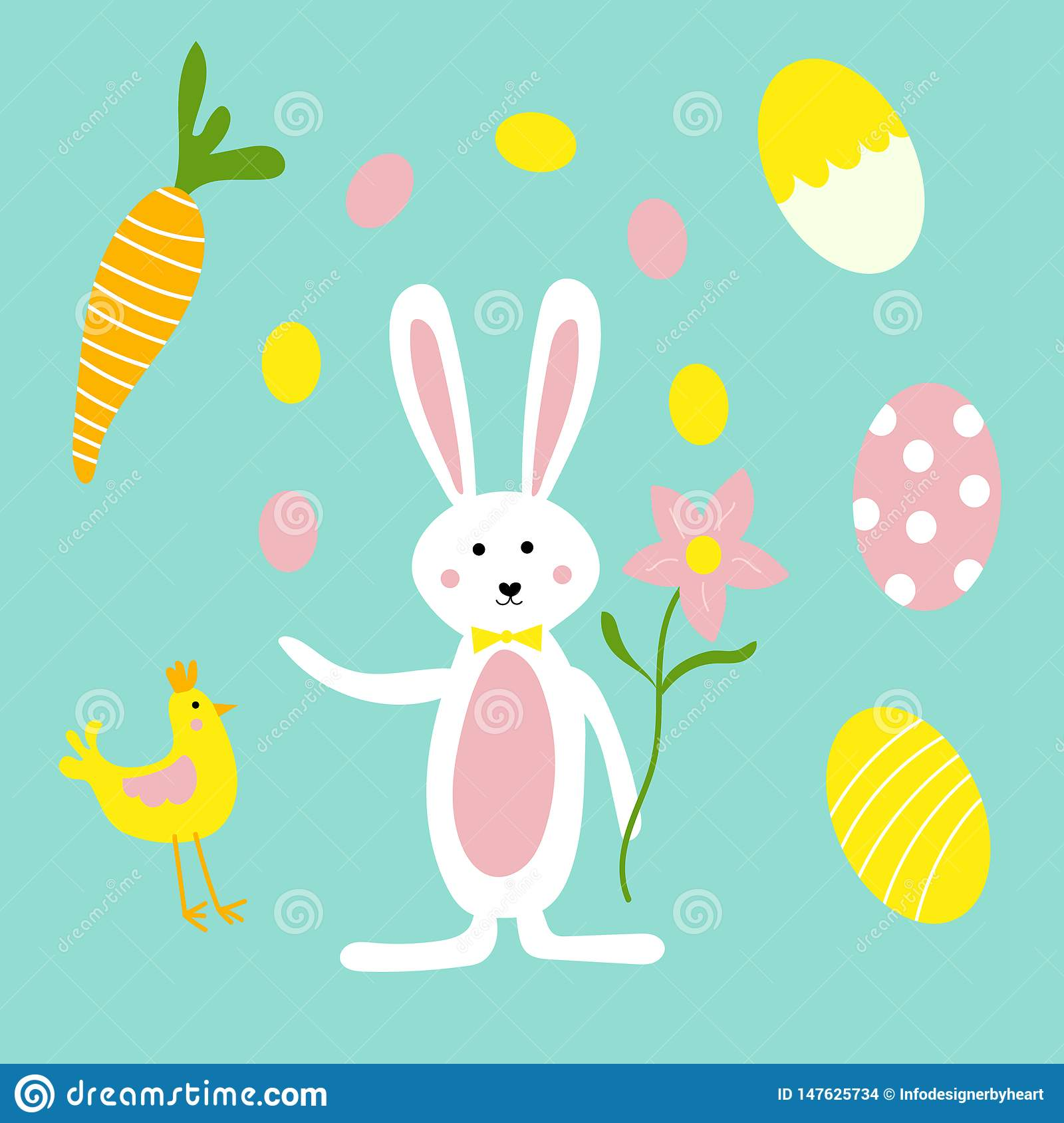 Cute Easter Bunny, Flowers, Carrots and Chicken