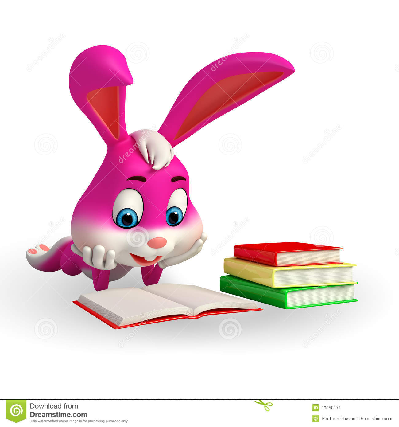 Stock Image: Cute Easter Bunny reading a book. Image: 39058171