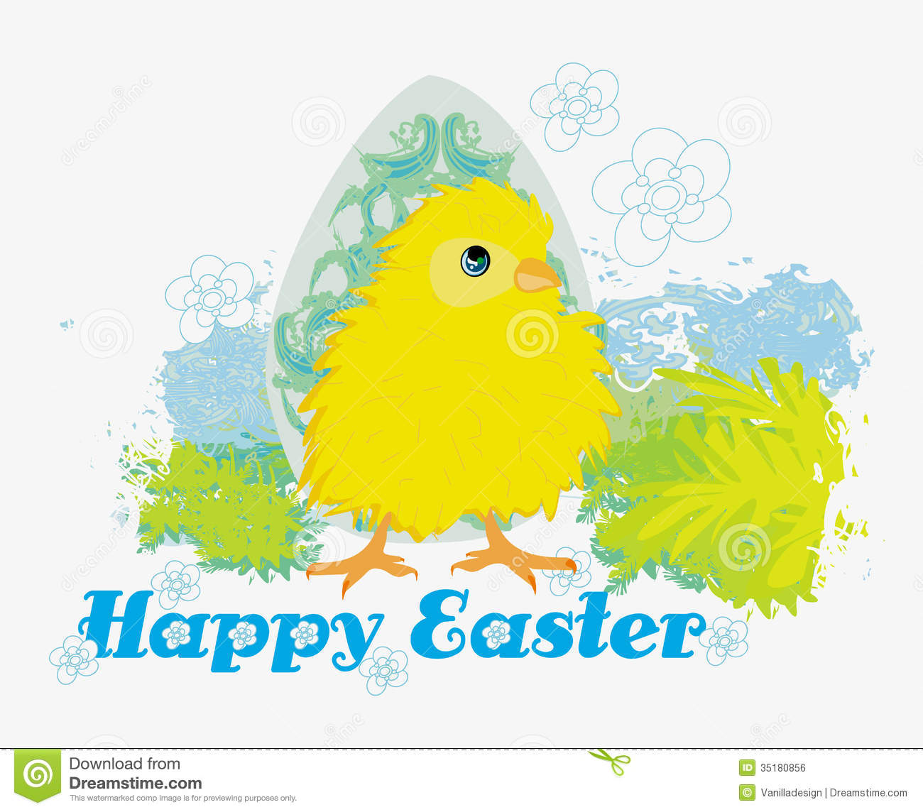 Cute Easter Chick Cartoon CharacterHappy Card