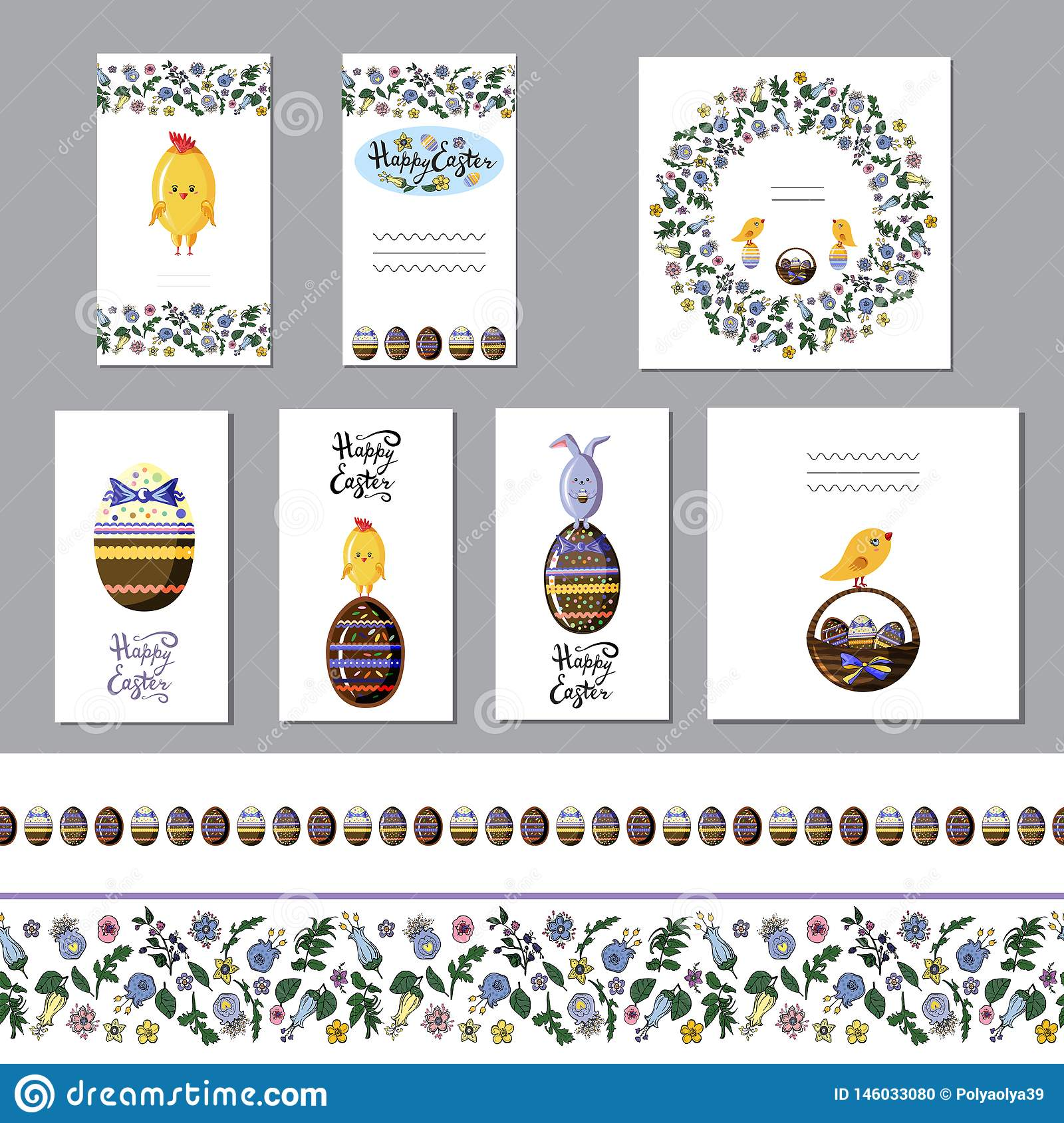 Cute easter greeting card set with chocolate eggs and seamless borders. Flat vector