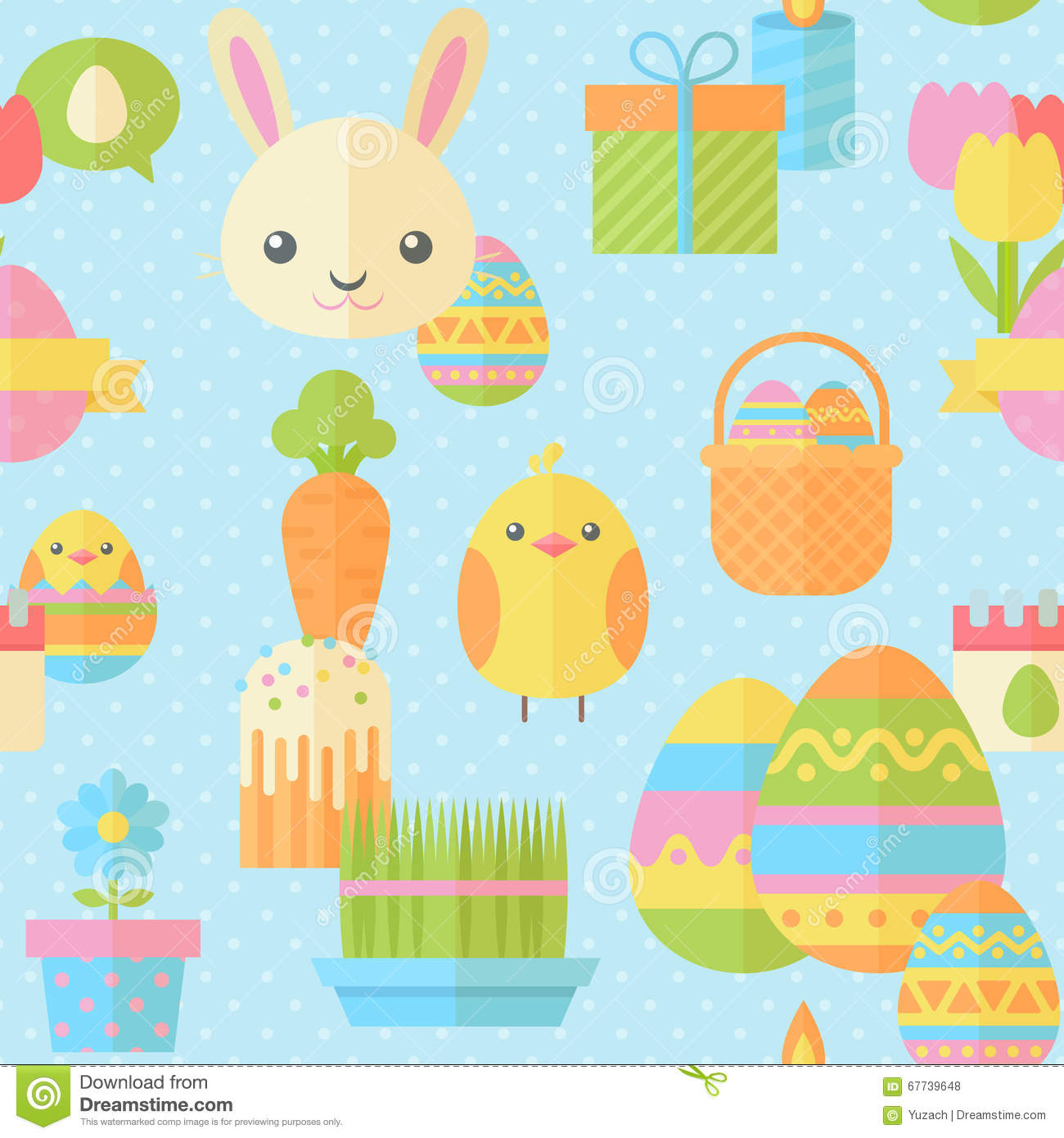 cute easter seamless pattern stock vector illustration of repeat