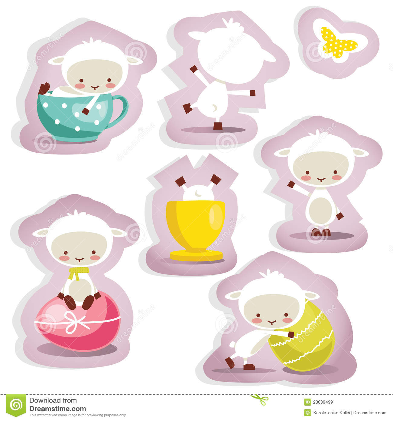 Cute Easter Stickers Isolated Stock Photo - Image: 23689500