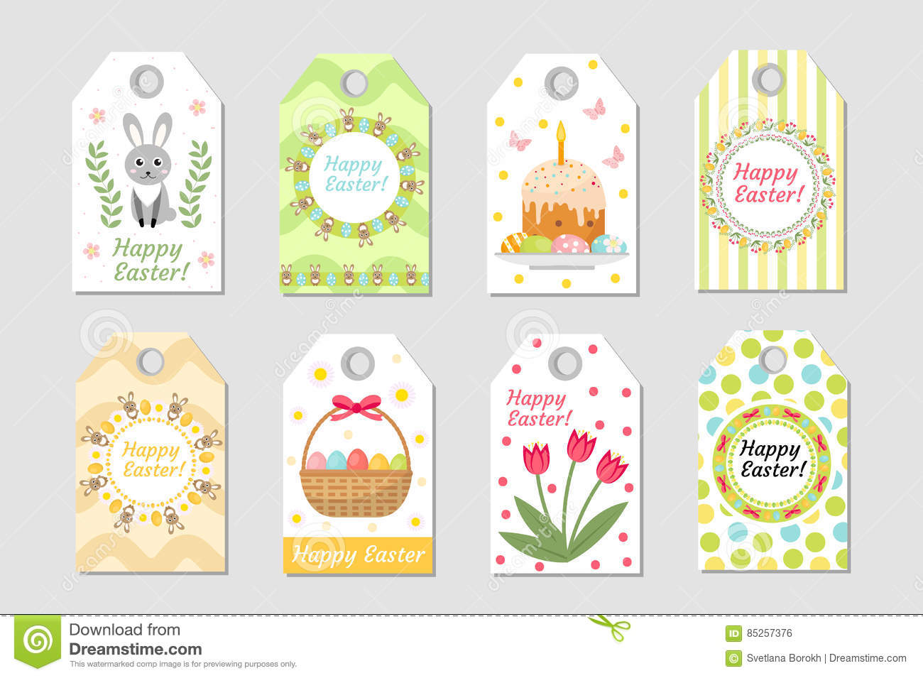 Cute Tags: Cute Easter Tags Set. Labels Collection With Rabbit, Eggs