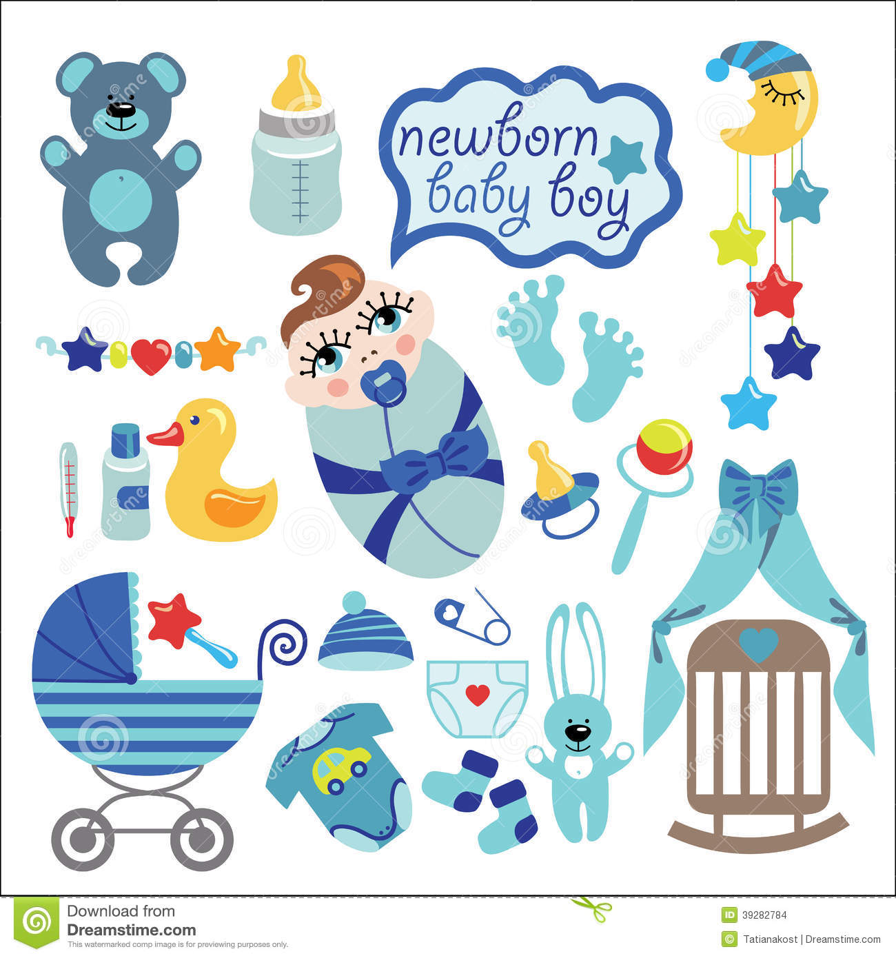 cute elements for newborn baby boy stock vector   image