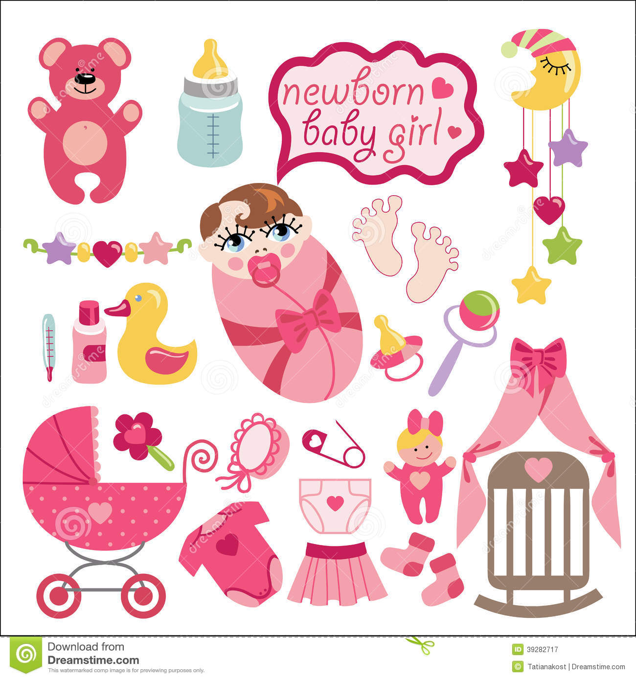 Cute Elements For Newborn Baby Girl Stock Vector Illustration Of Born Bonnet 39282717