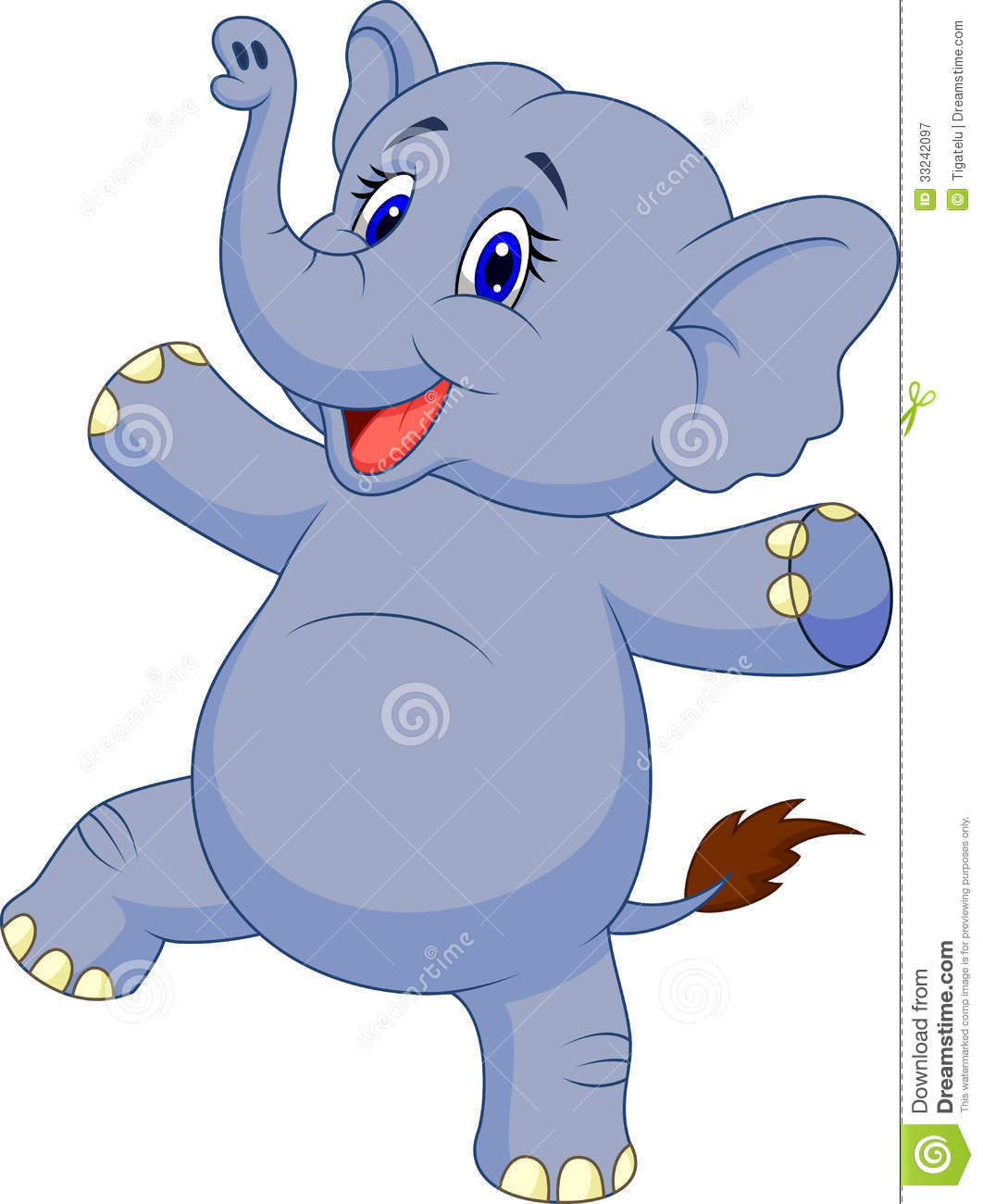 Cute Cartoon Baby Elephant on coloring map of the united states