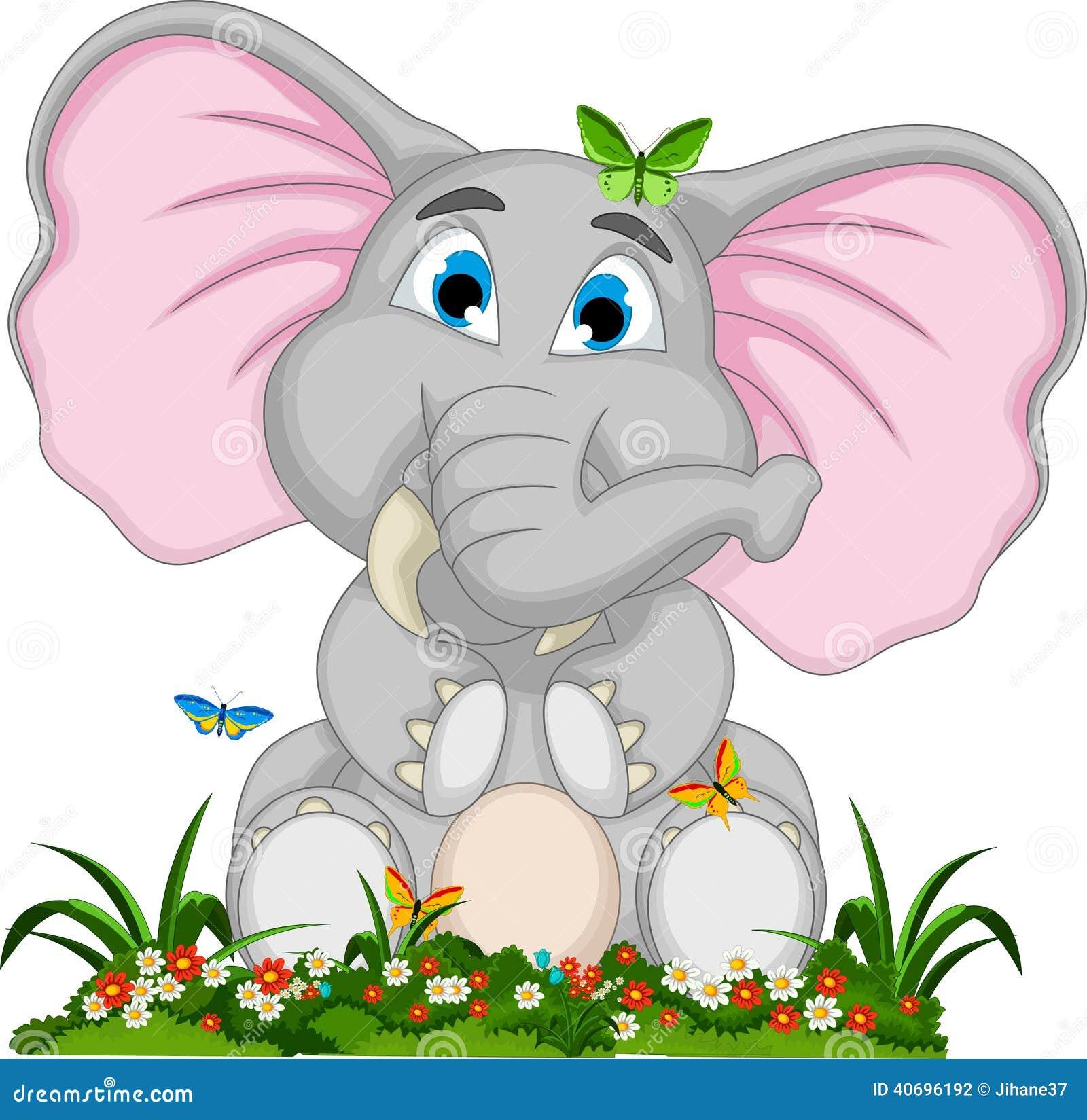 Garden Cute Cartoon: Cute Elephant Cartoon Sitting In Garden Stock Illustration