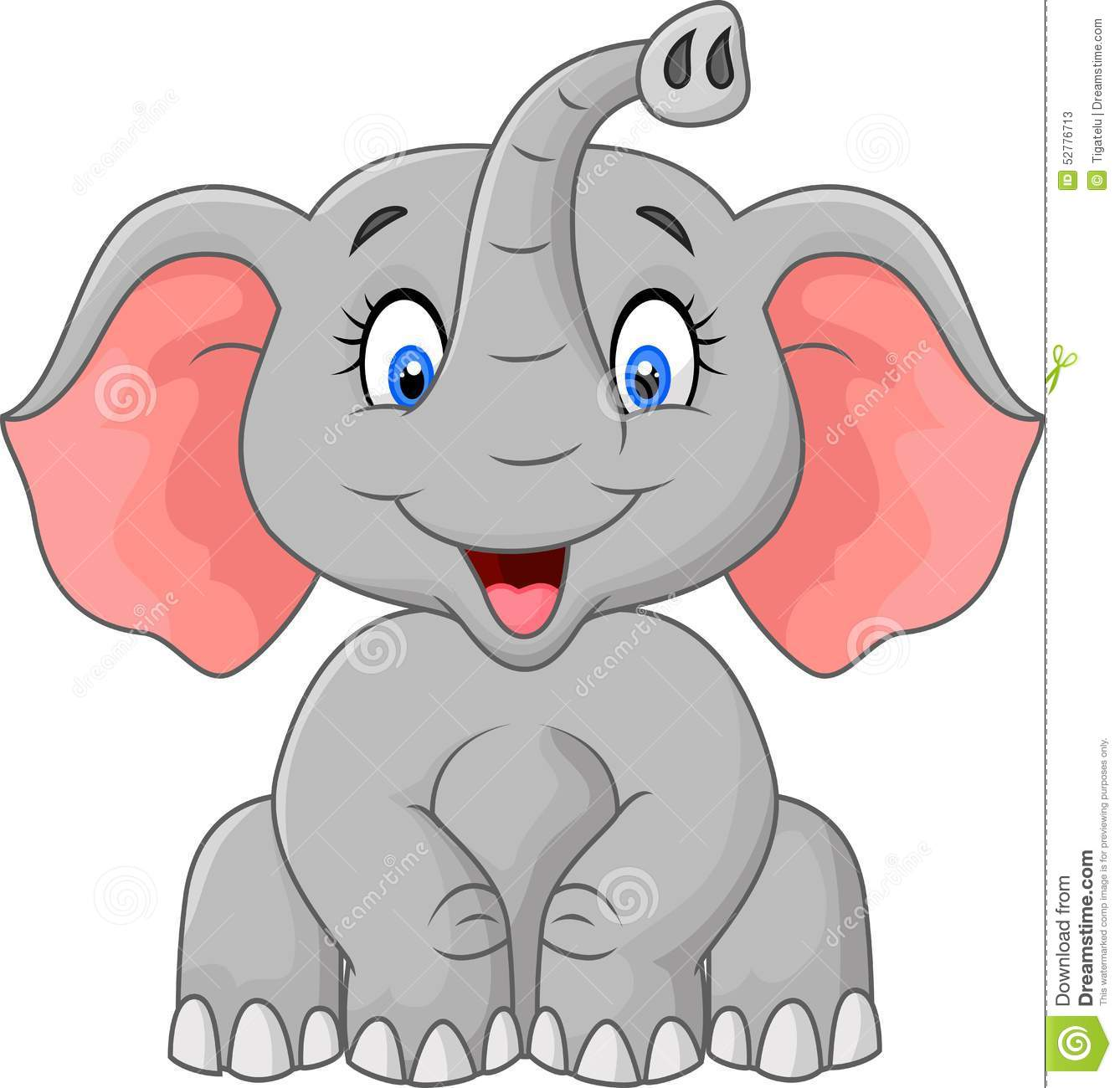 Cute Elephant Cartoon Sitting Stock Vector Image 52776713