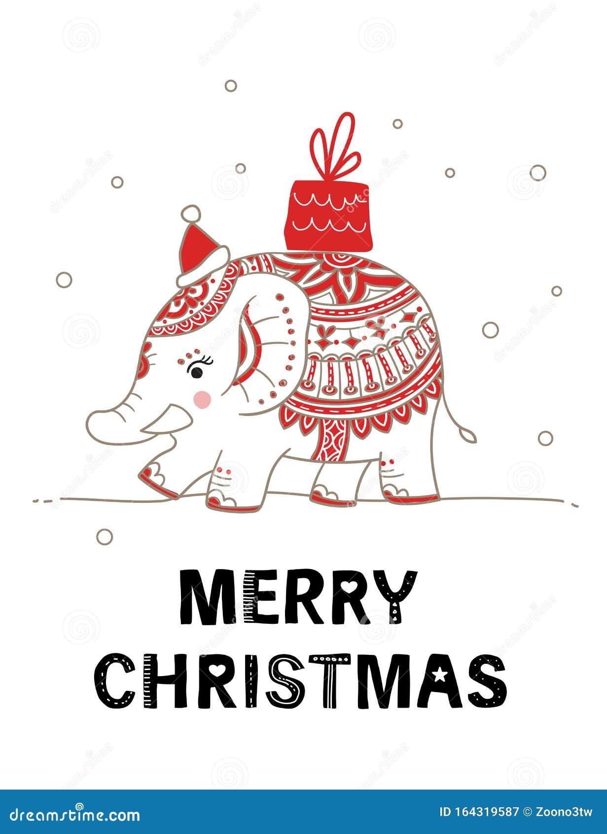 cute elephant christmas card with lettering inscription