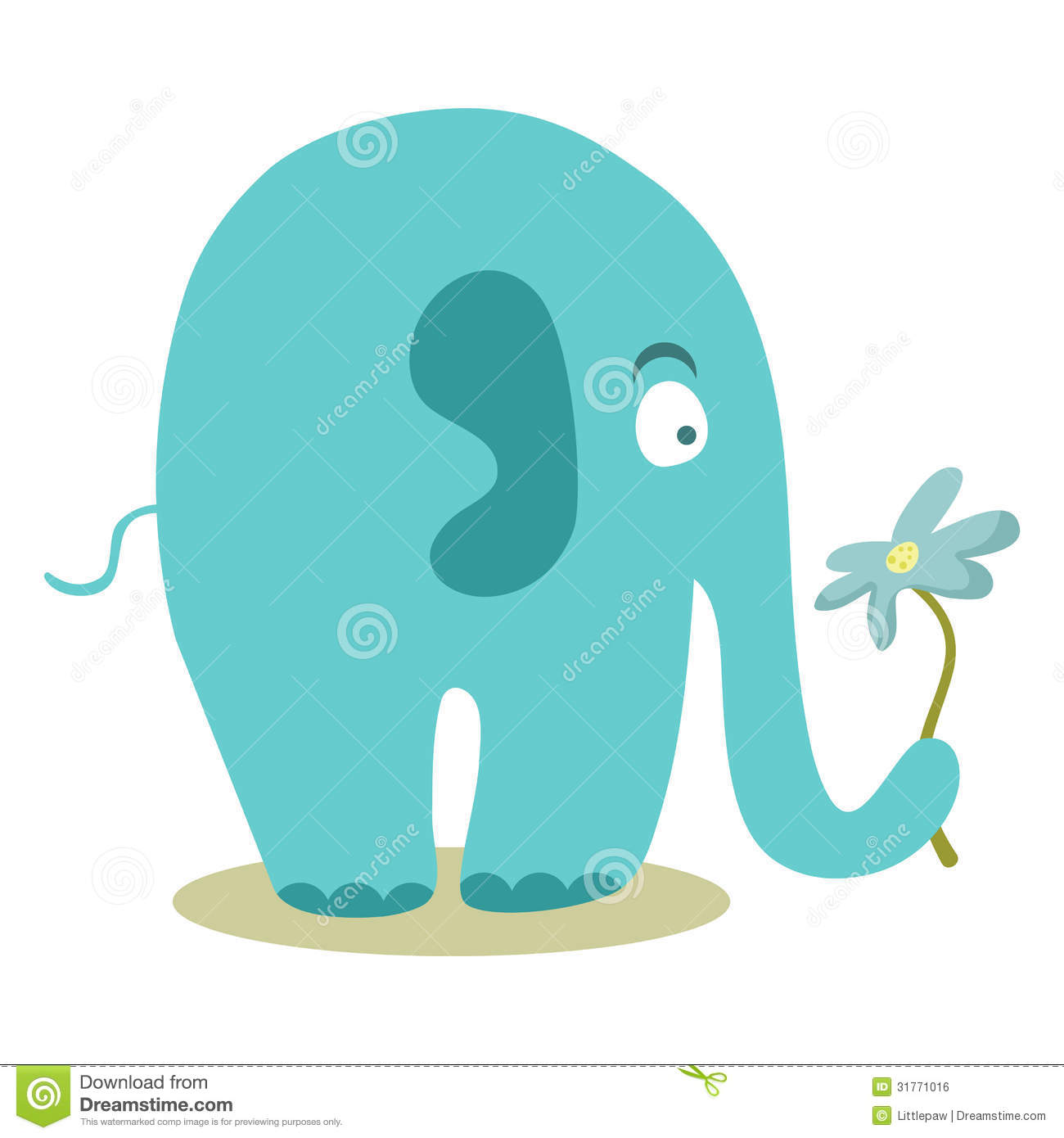 Cute Elephant Holding A Flower Royalty Free Stock Image