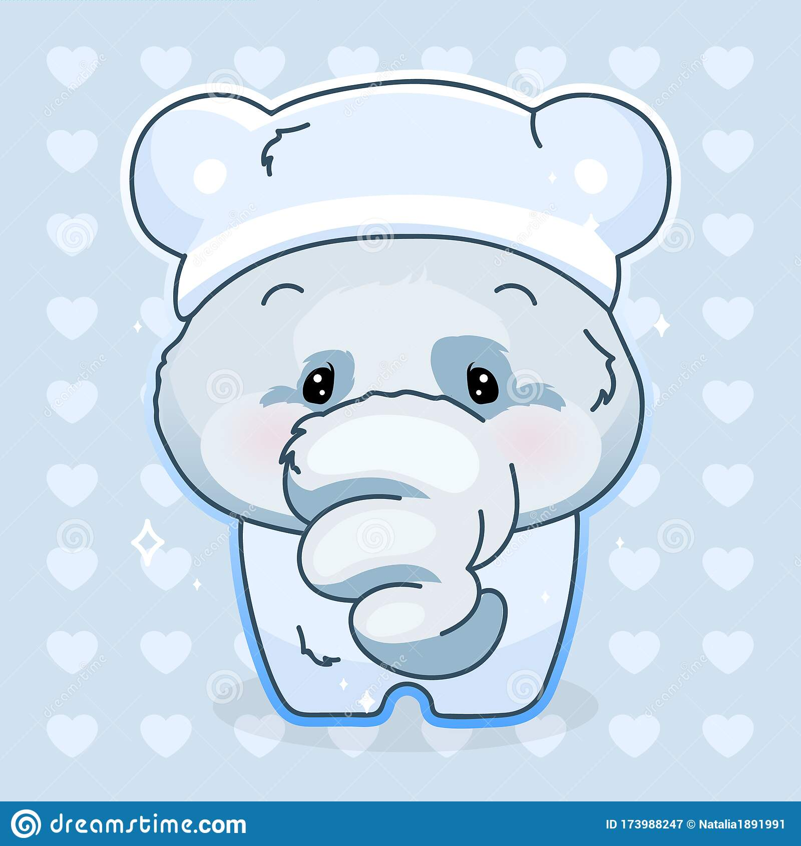 Cute Elephant Kawaii Cartoon Vector Character Adorable And Funny Animal In Pajamas Isolated Sticker Patch Anime Baby Boy Stock Vector Illustration Of Elephant Nightwear 173988247