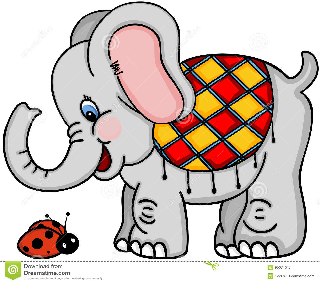 Cute elephant and ladybird stock vector. Illustration of drawing ...