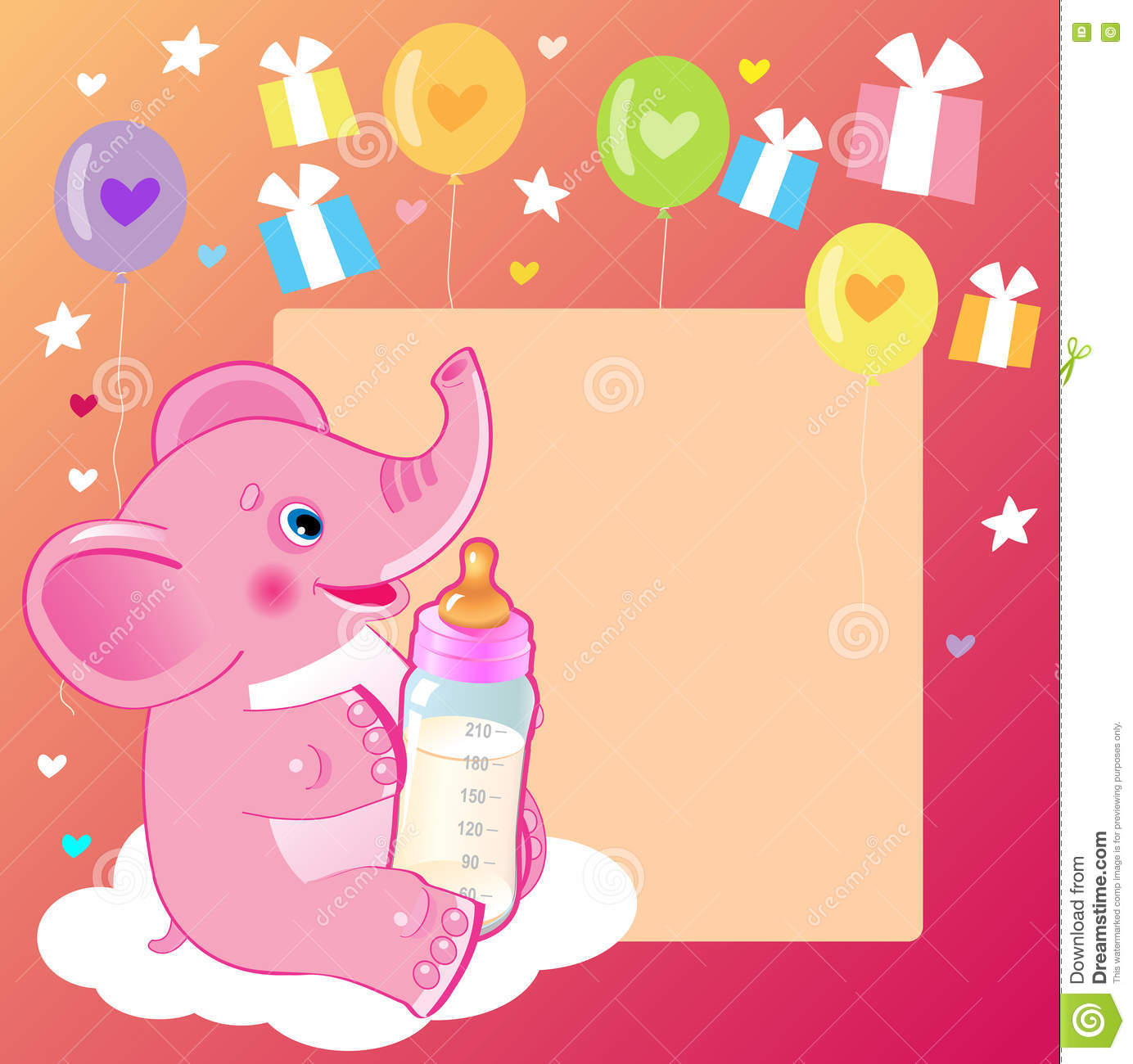 Cute Elephant With Milk Bottle. Welcome Baby Girl Card ...